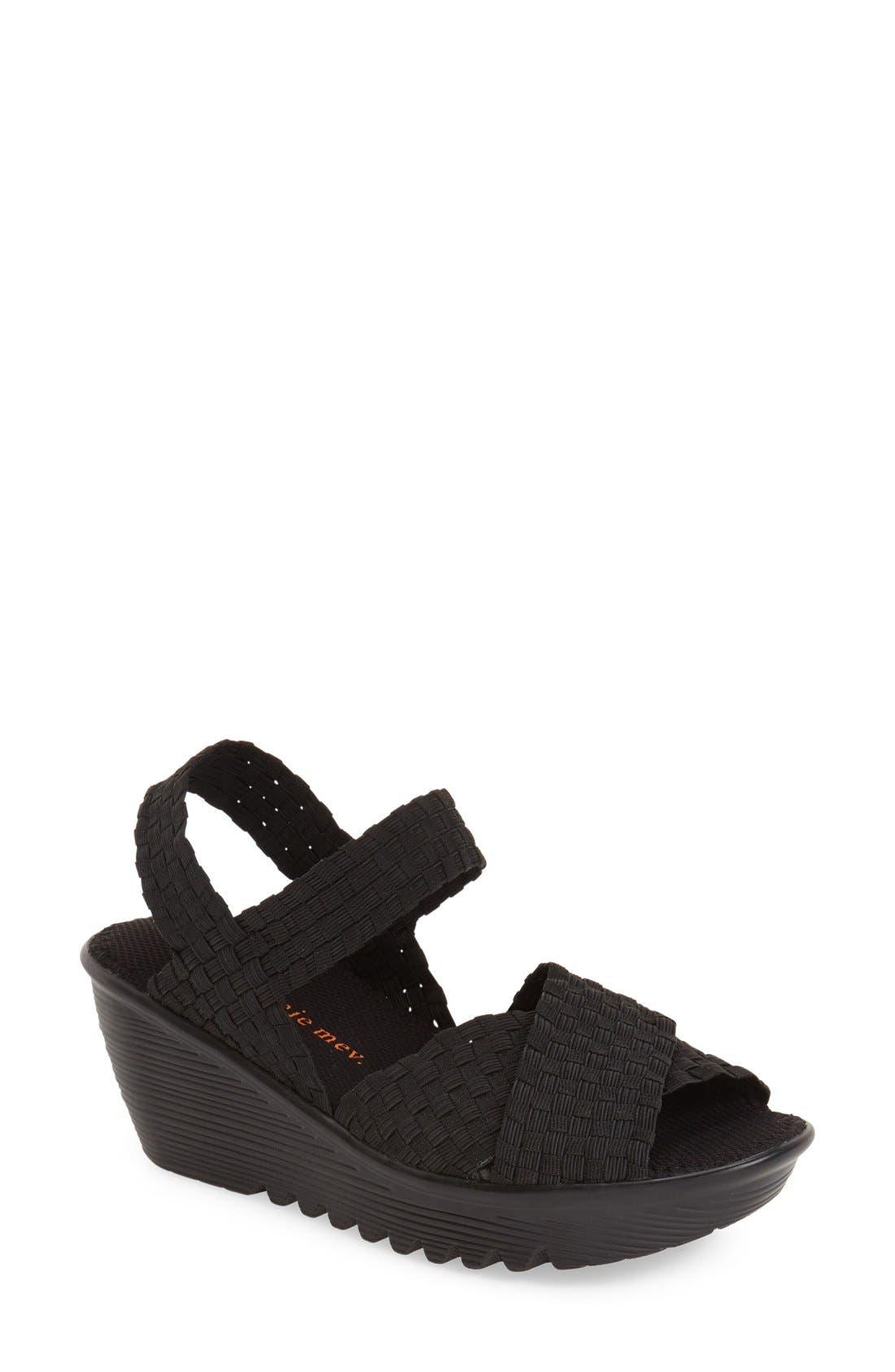 BERNIE MEV.,                             'Buttercup' Woven Platform Wedge Sandal,                             Main thumbnail 1, color,                             BLACK FABRIC
