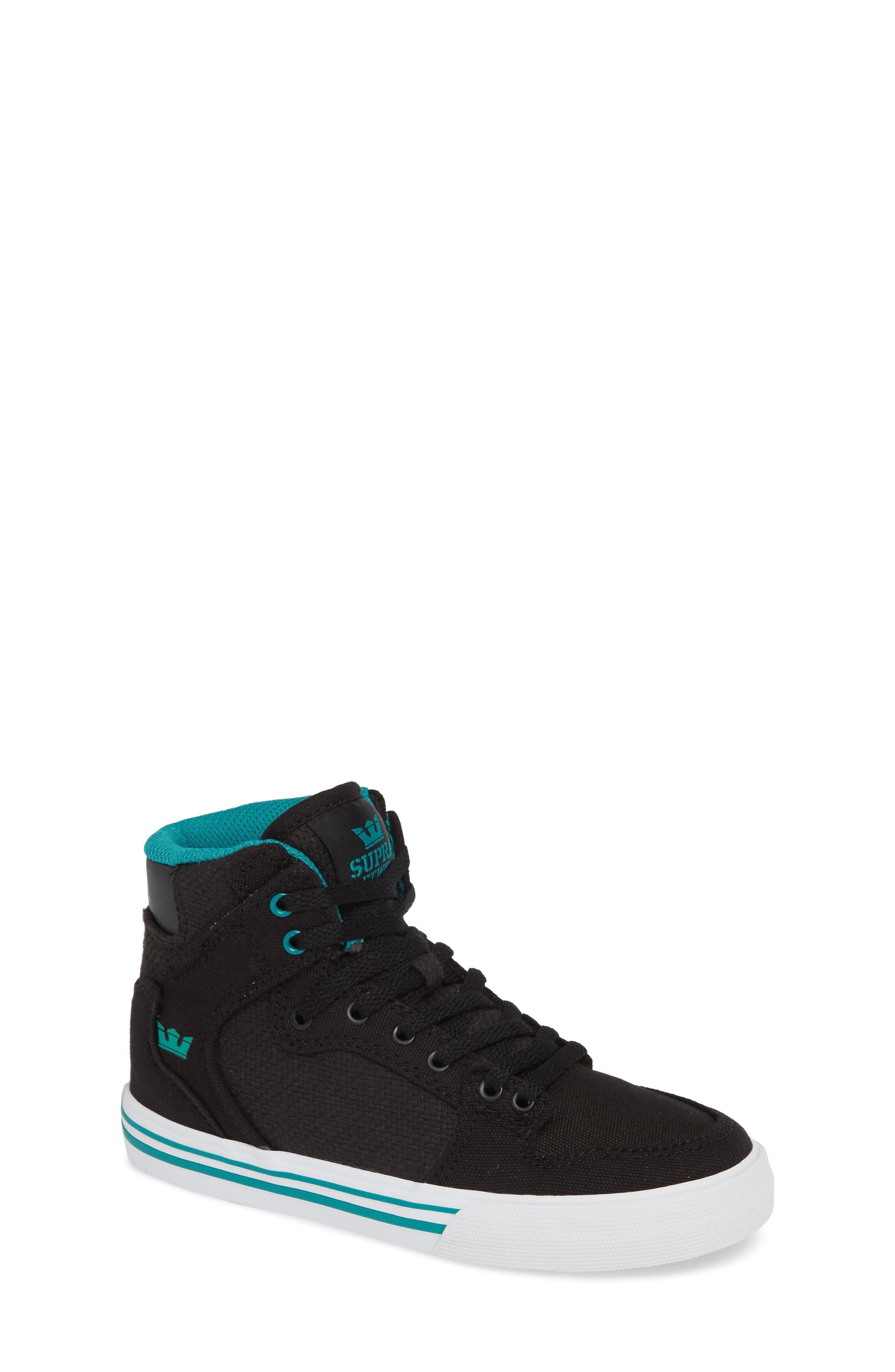 'Vaider' High Top Sneaker,                             Main thumbnail 1, color,                             BLACK/ TEAL