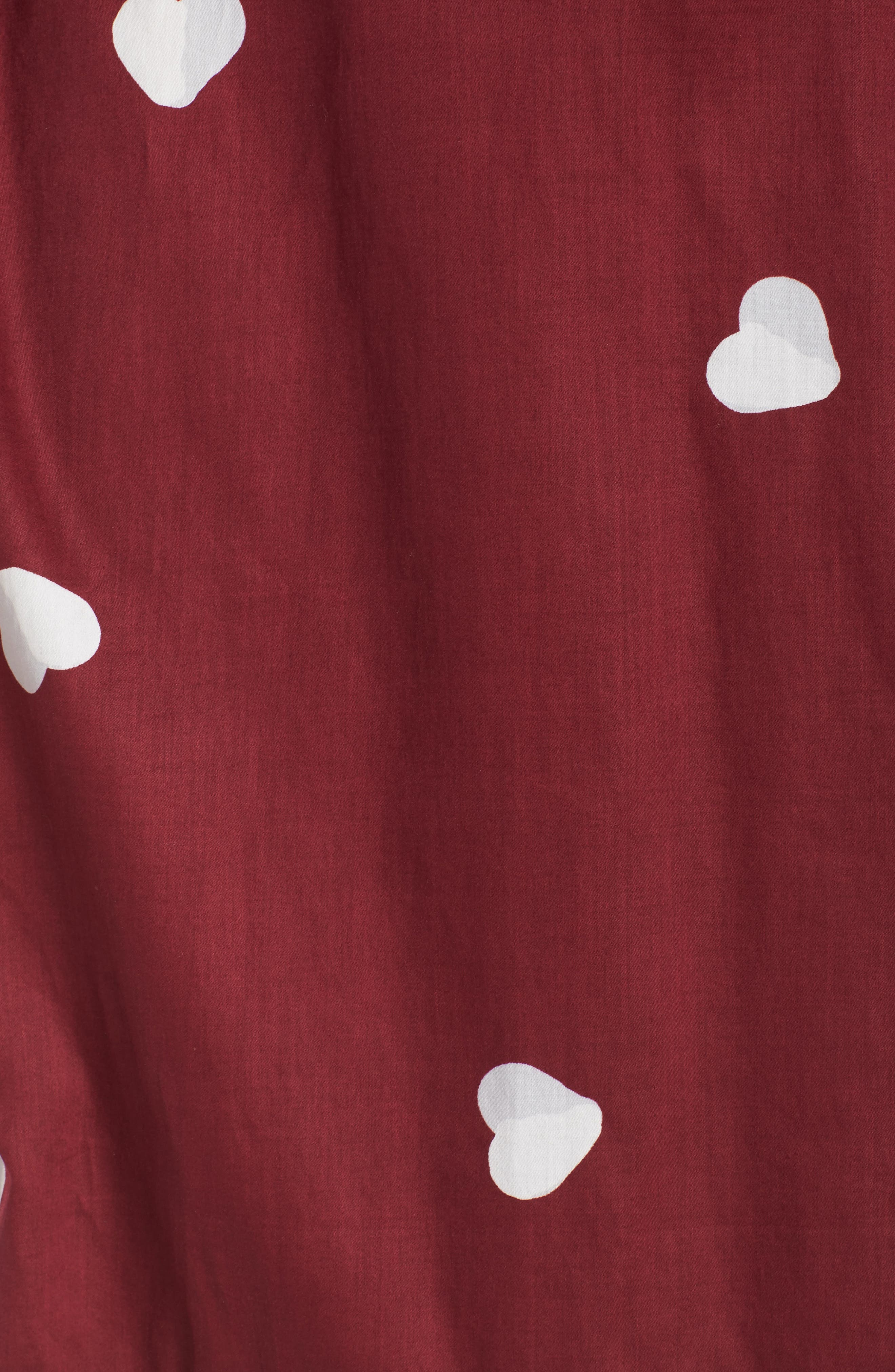 Margaux Short Cotton Robe,                             Alternate thumbnail 5, color,                             LONELY HEARTS MAROON