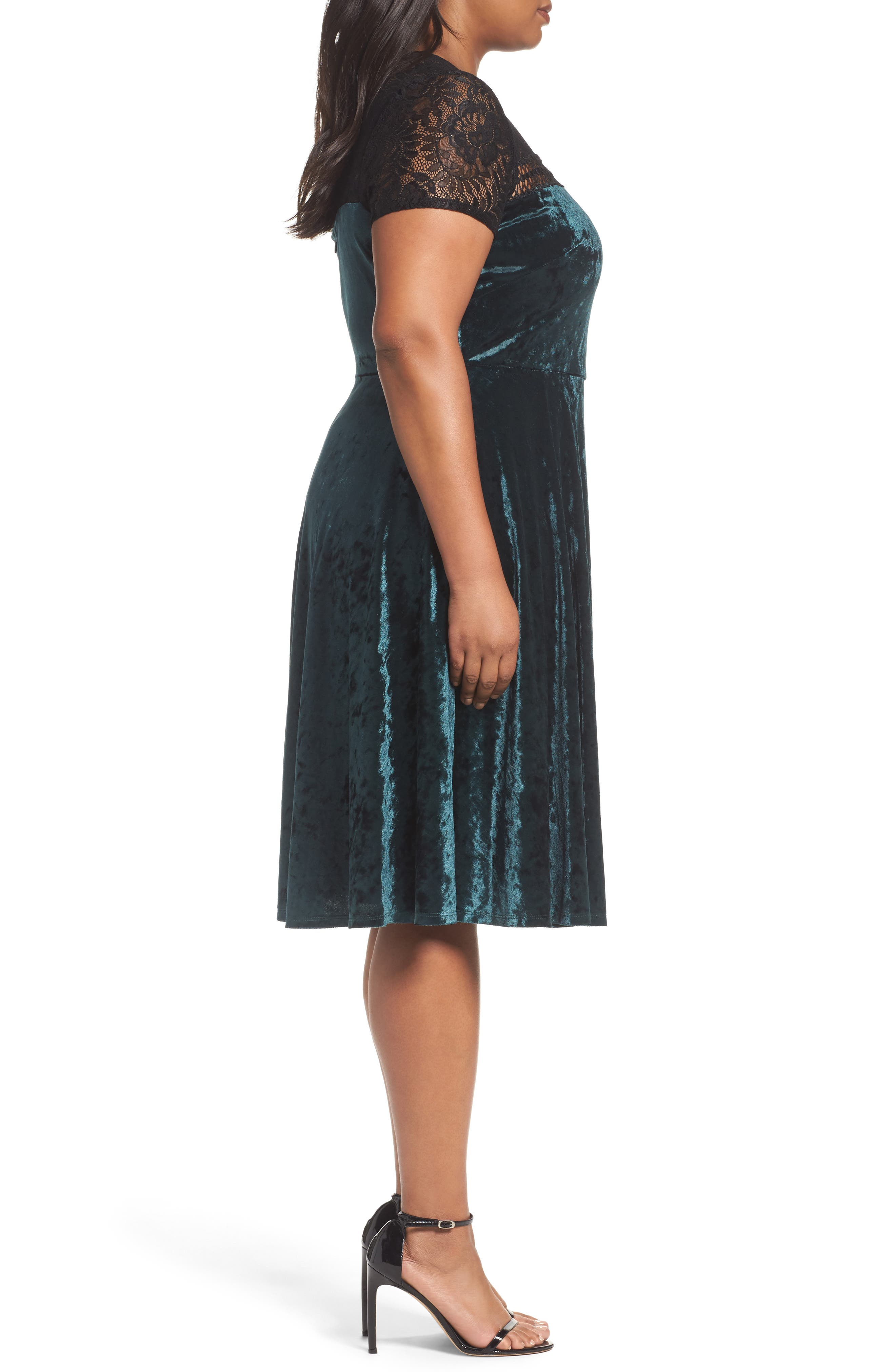 Lace Yoke Velvet Fit & Flare Dress,                             Alternate thumbnail 3, color,                             256