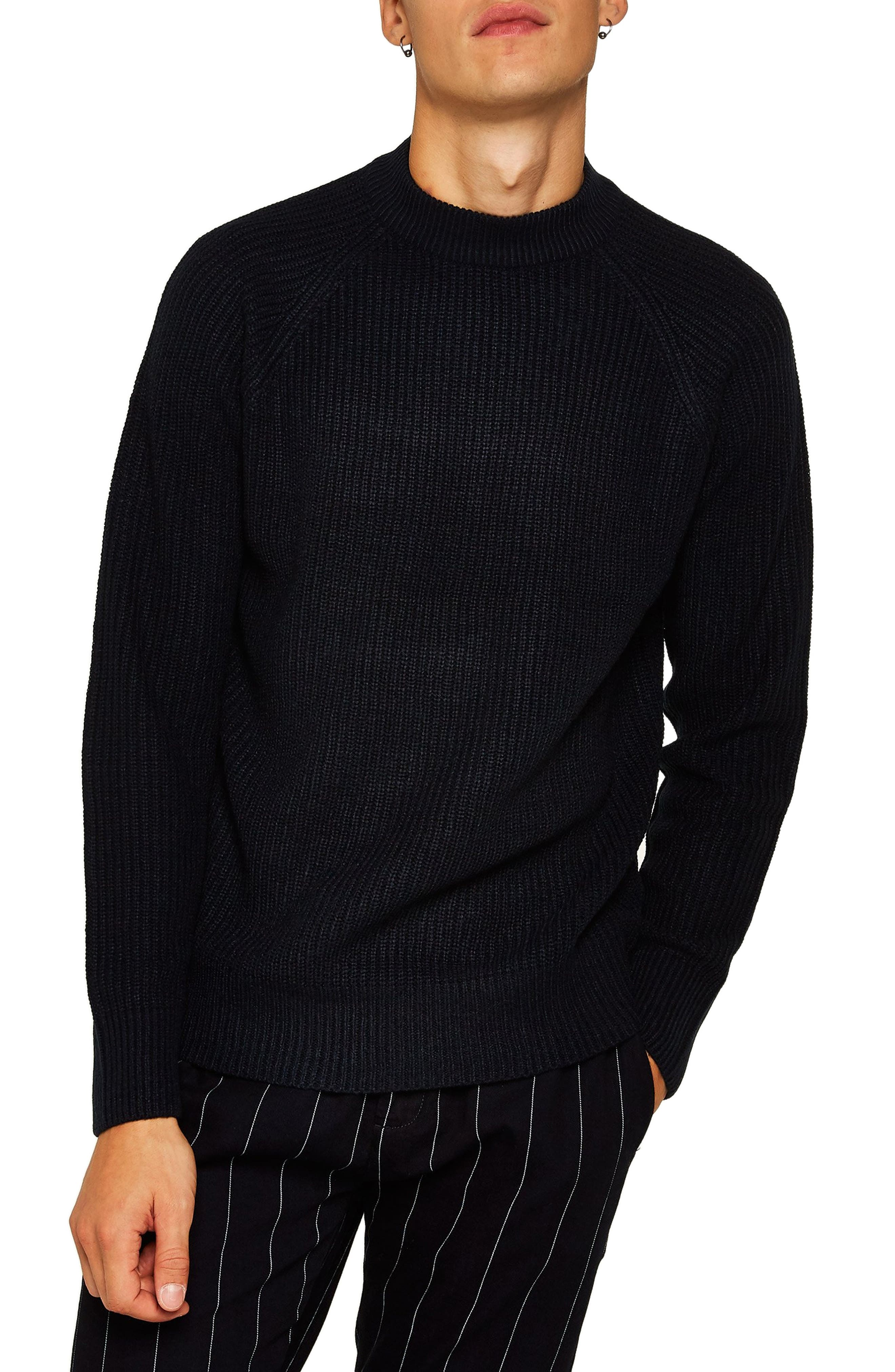 Ribbed Sweater,                         Main,                         color, NAVY BLUE