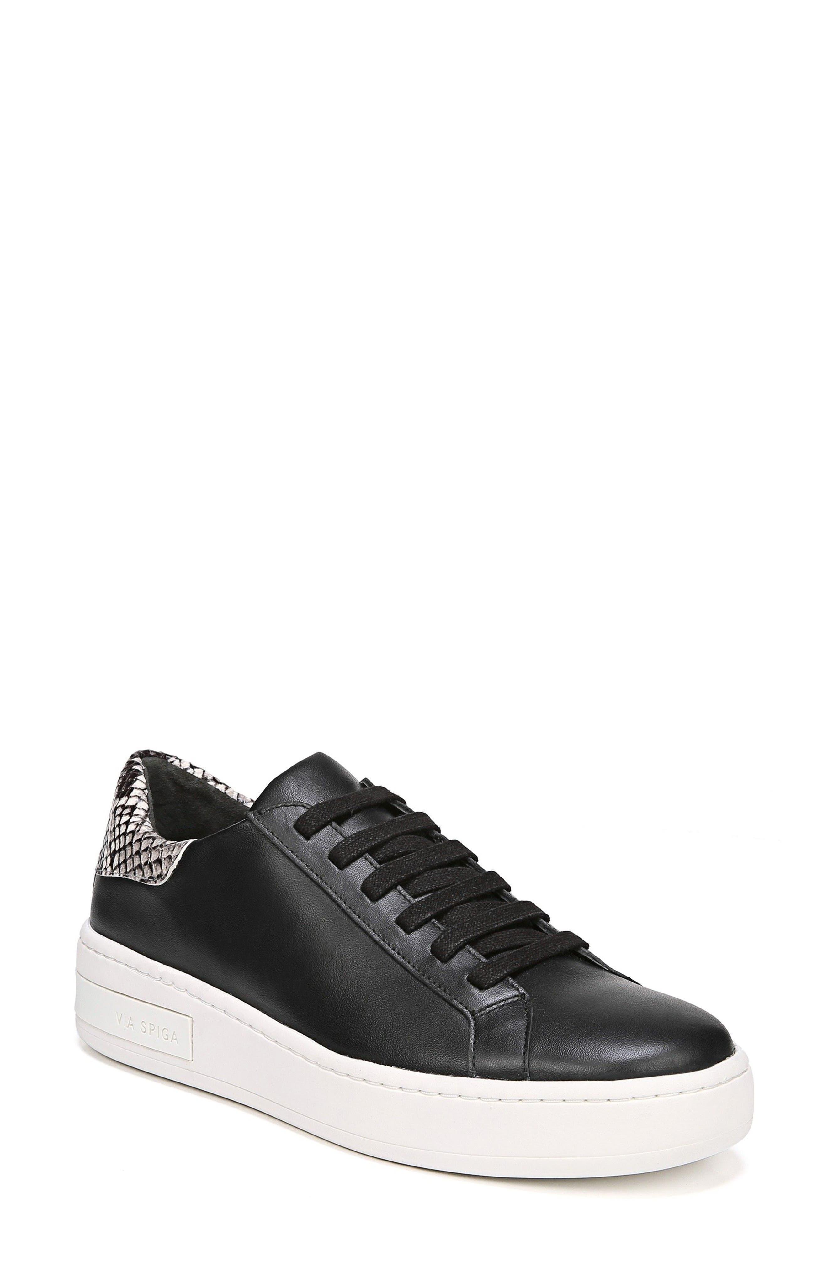 Rylen Platform Sneaker,                         Main,                         color, BLACK/ BLACK/ WHITE LEATHER