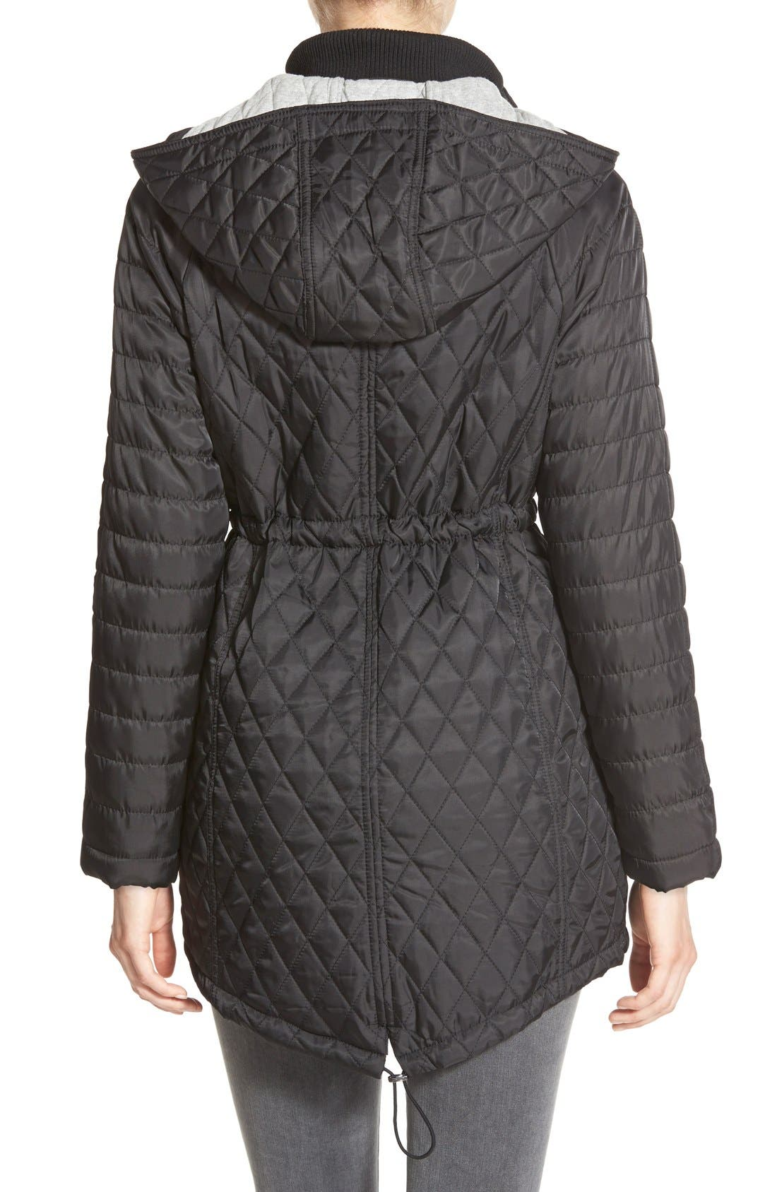 DetachableHood Quilted Anorak,                             Alternate thumbnail 2, color,                             001