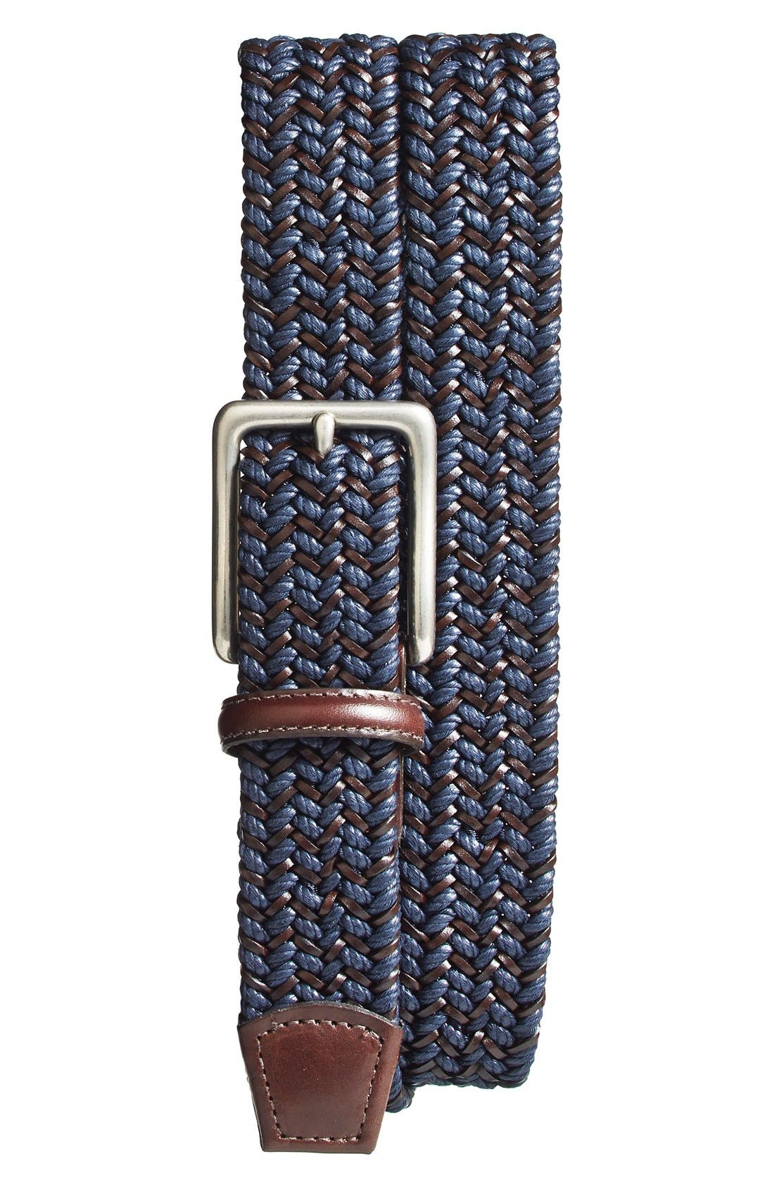 Woven & Leather Belt,                         Main,                         color, NAVY/ BROWN