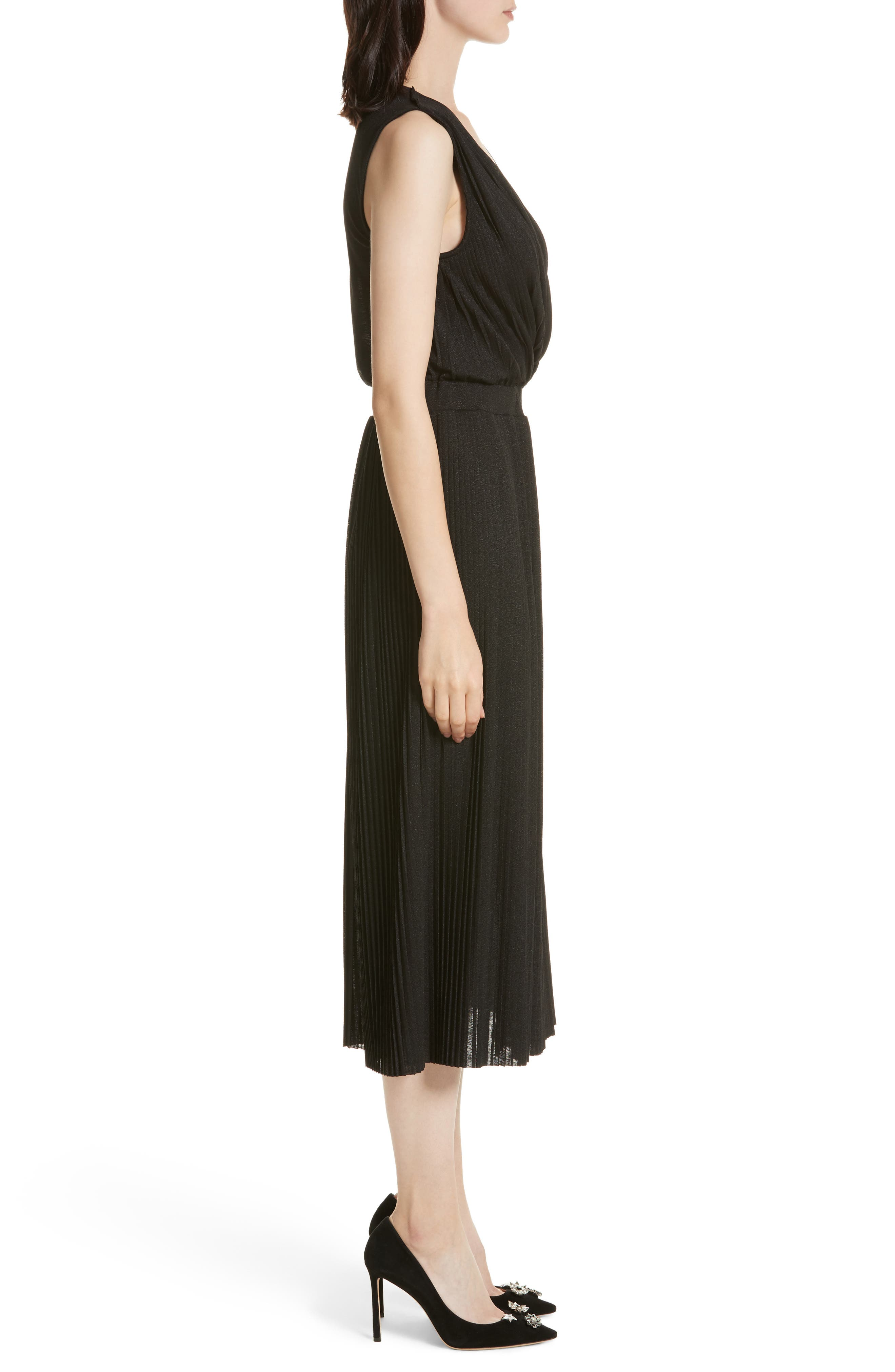 Surplice Fit & Flare Dress,                             Alternate thumbnail 3, color,                             001
