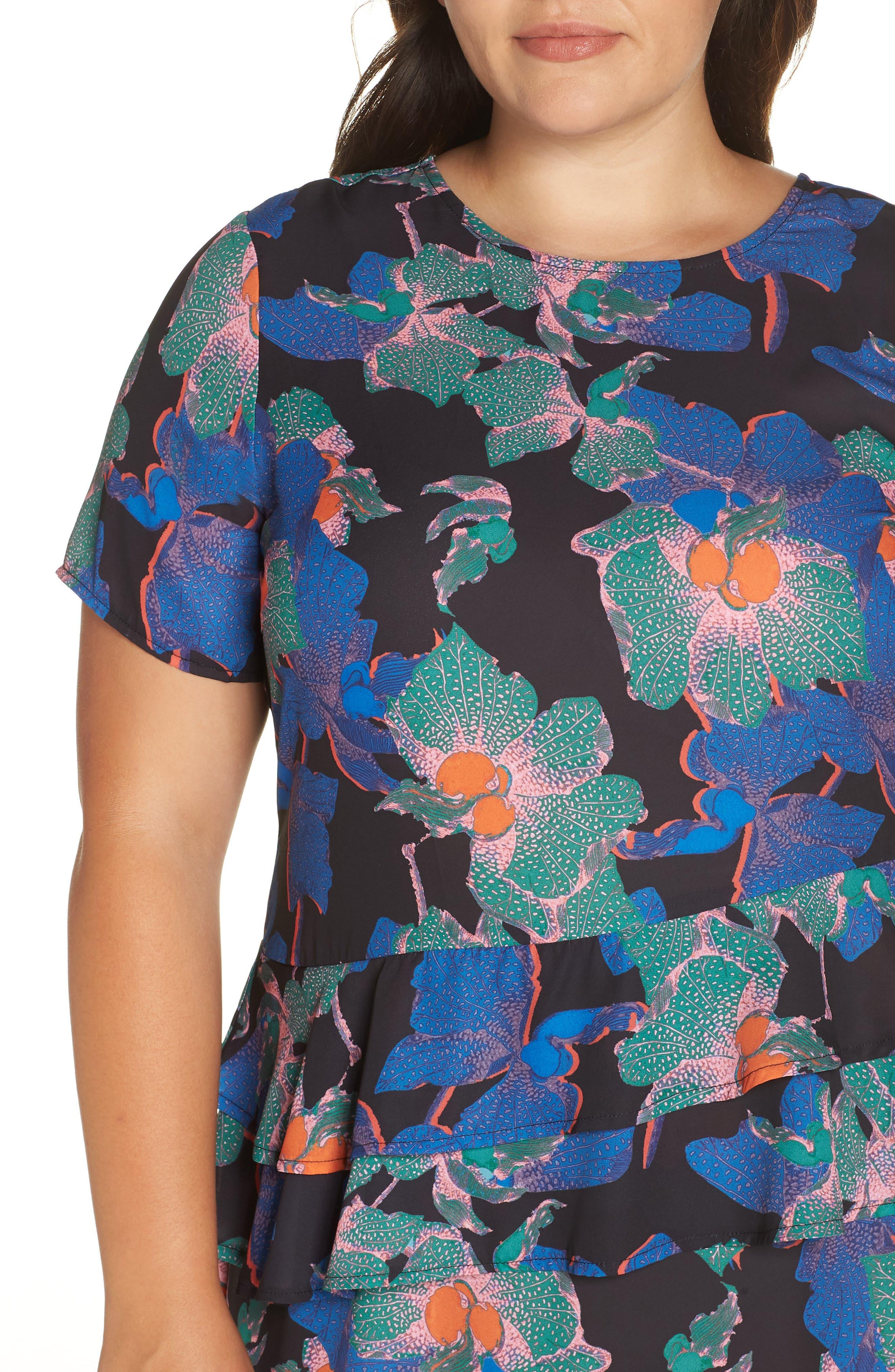 Floral Asymmetric Dress,                             Alternate thumbnail 4, color,                             MULTI