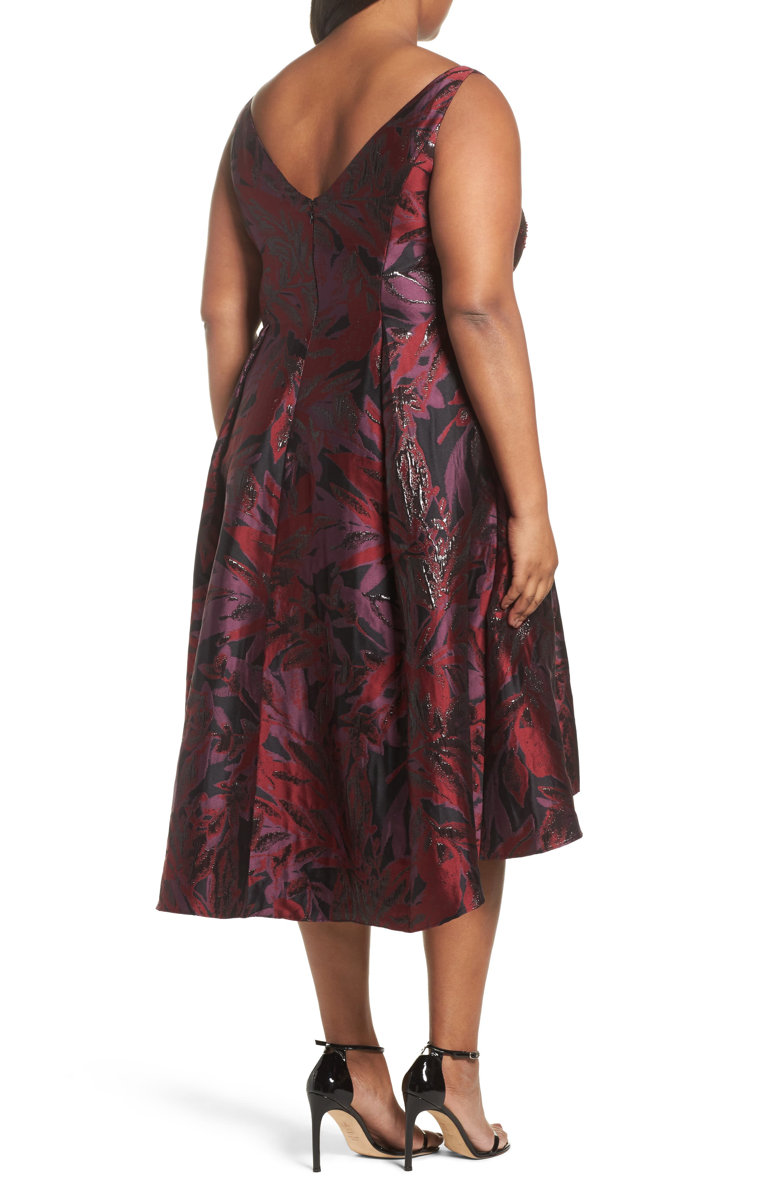 Metallic Floral Jacquard Fit & Flare Dress,                             Alternate thumbnail 2, color,                             641