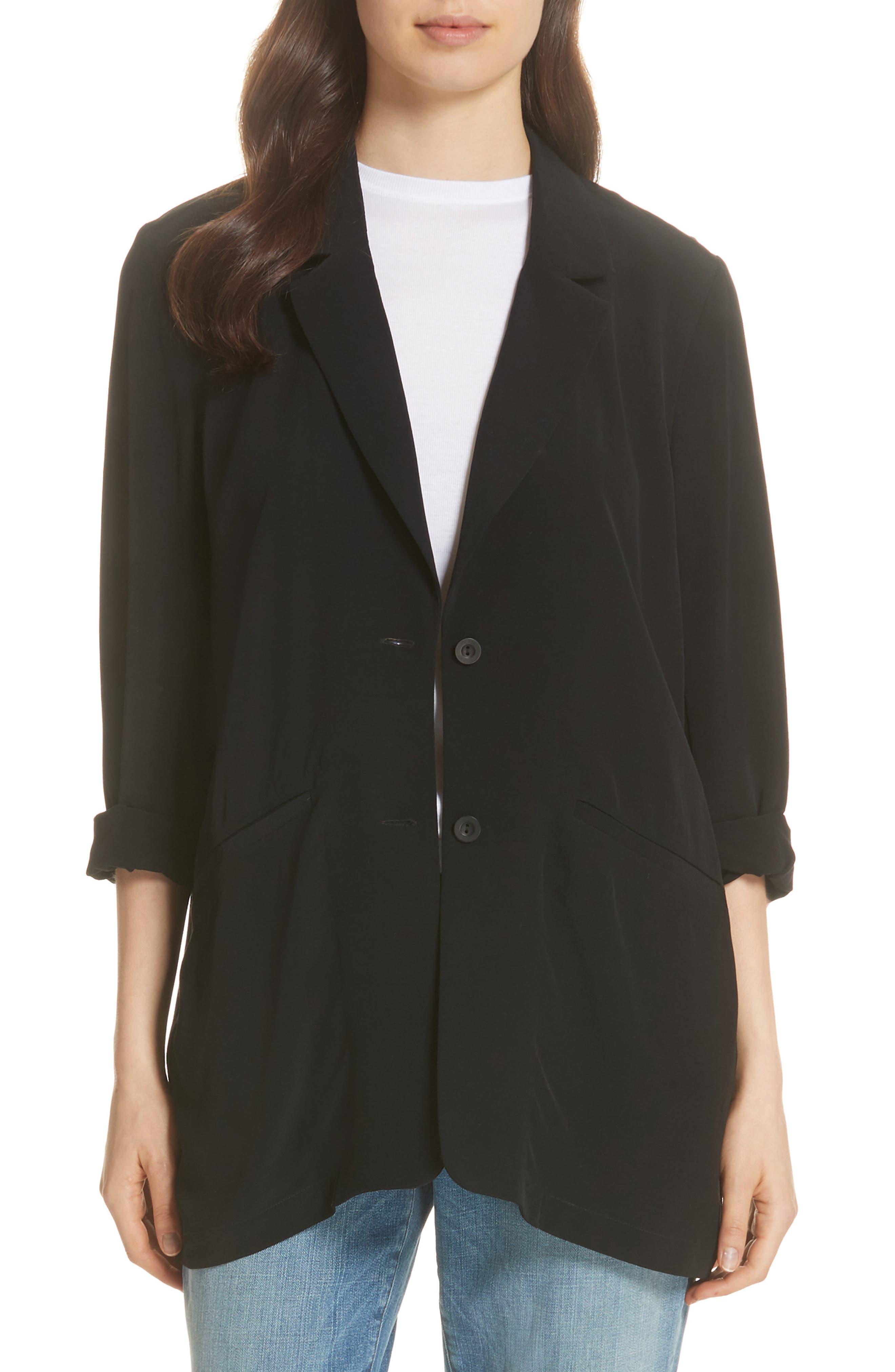 Long Notch Collar Jacket,                             Main thumbnail 1, color,                             001