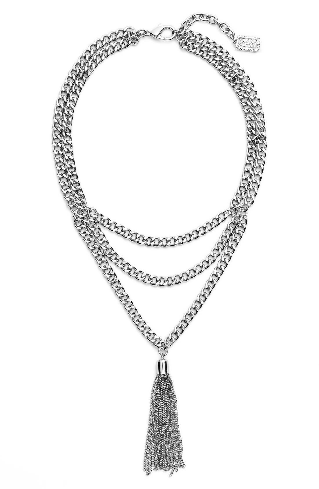 KARINE SULTAN,                             Layered Y-Necklace,                             Main thumbnail 1, color,                             SILVER