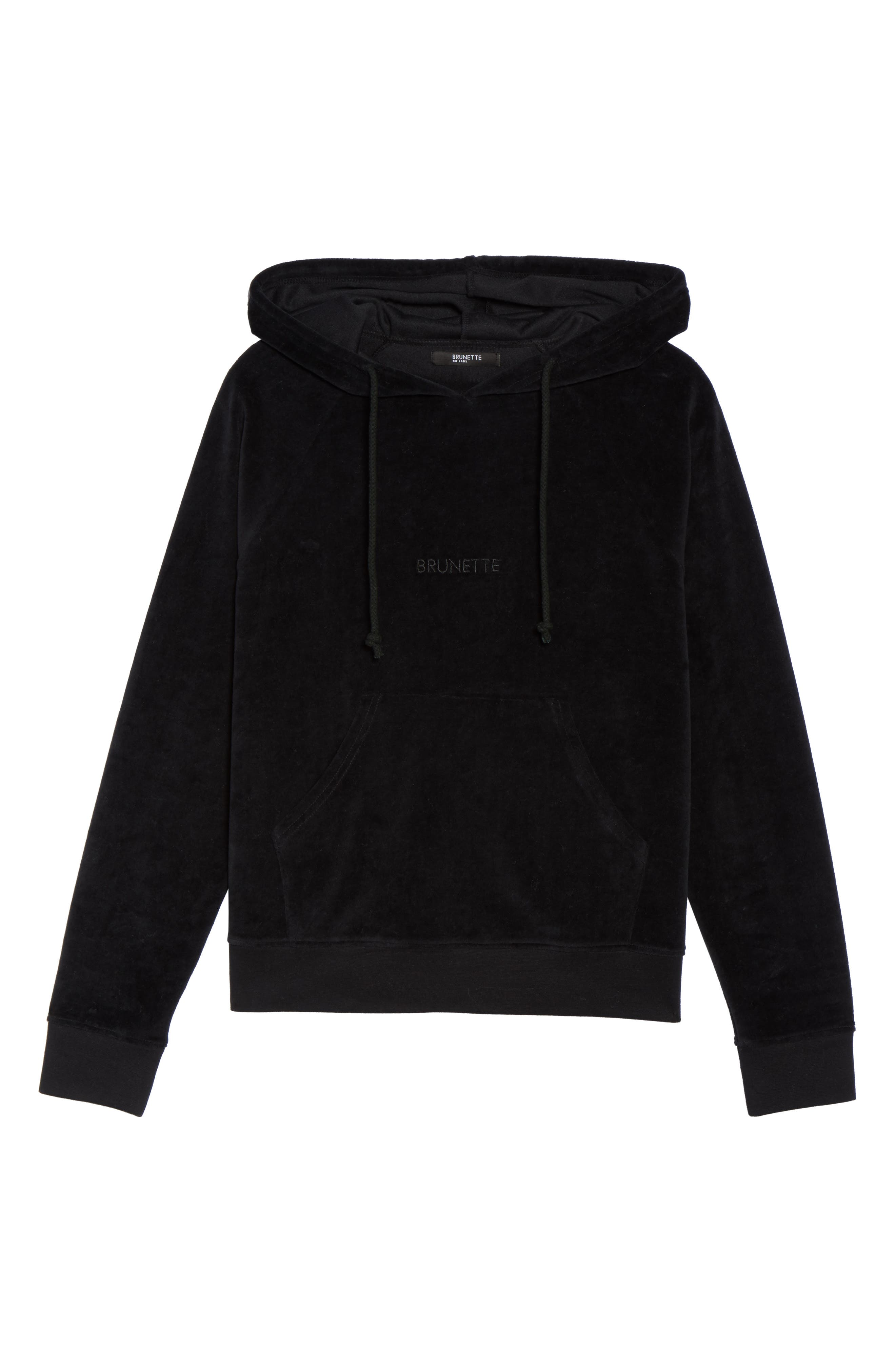 Brunette Embroidered Velour Hoodie,                             Alternate thumbnail 6, color,