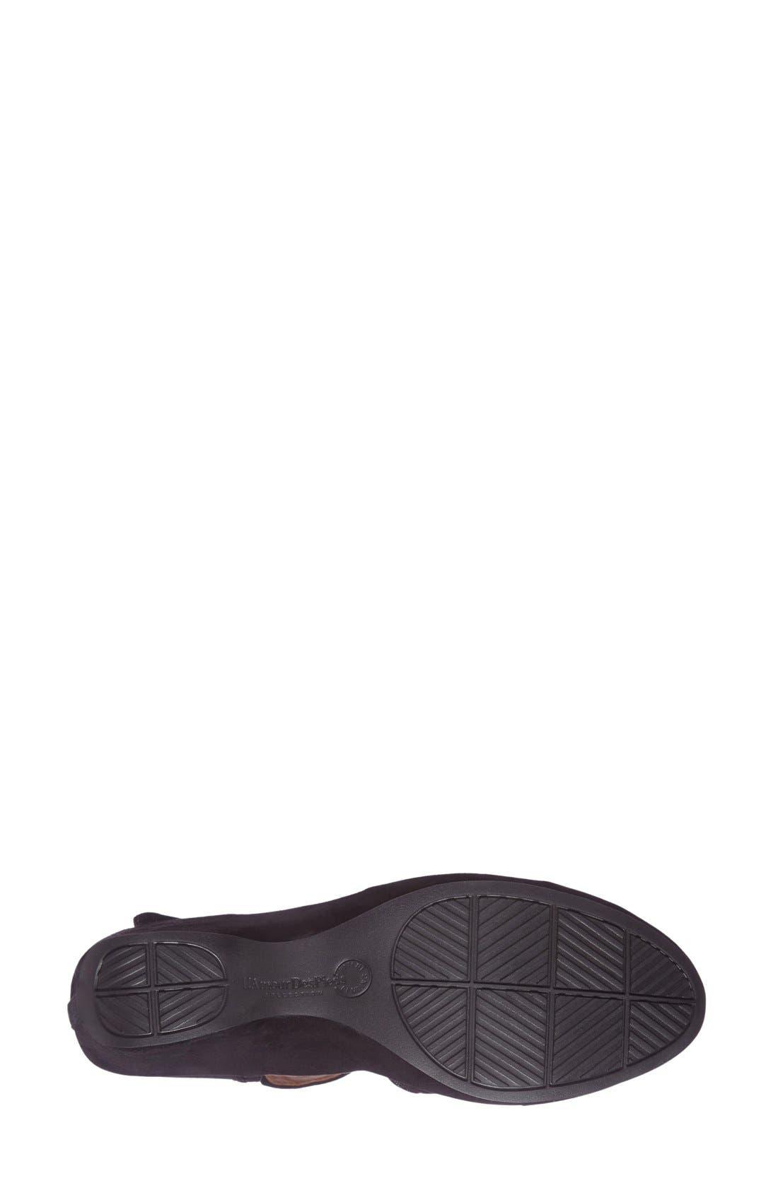 L'Amourdes Pieds'Orva' Wedge Sandal,                             Alternate thumbnail 4, color,                             BLACK KIDSUEDE