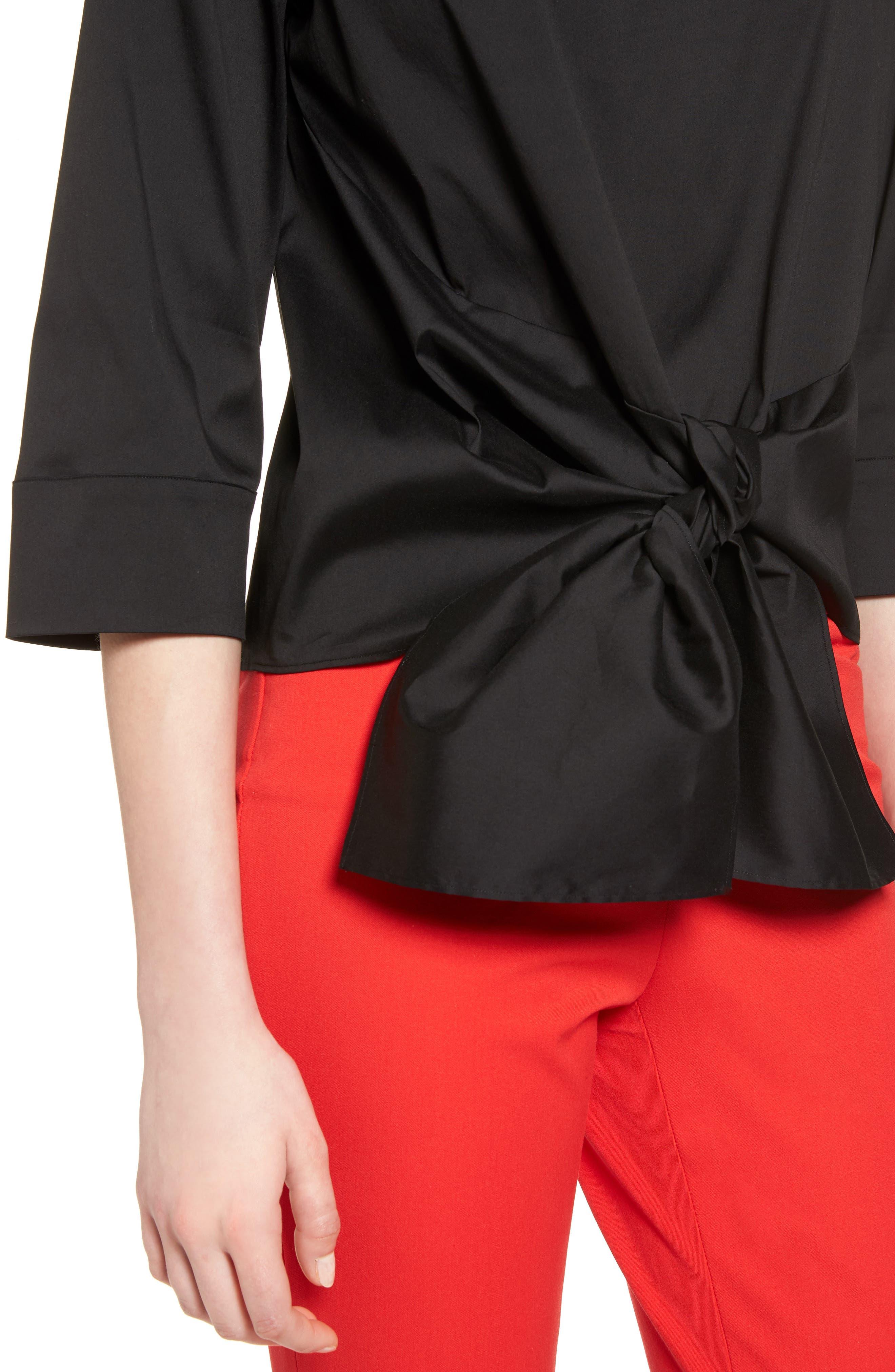 HALOGEN<SUP>®</SUP>,                             Tie Front Blouse,                             Alternate thumbnail 4, color,                             001