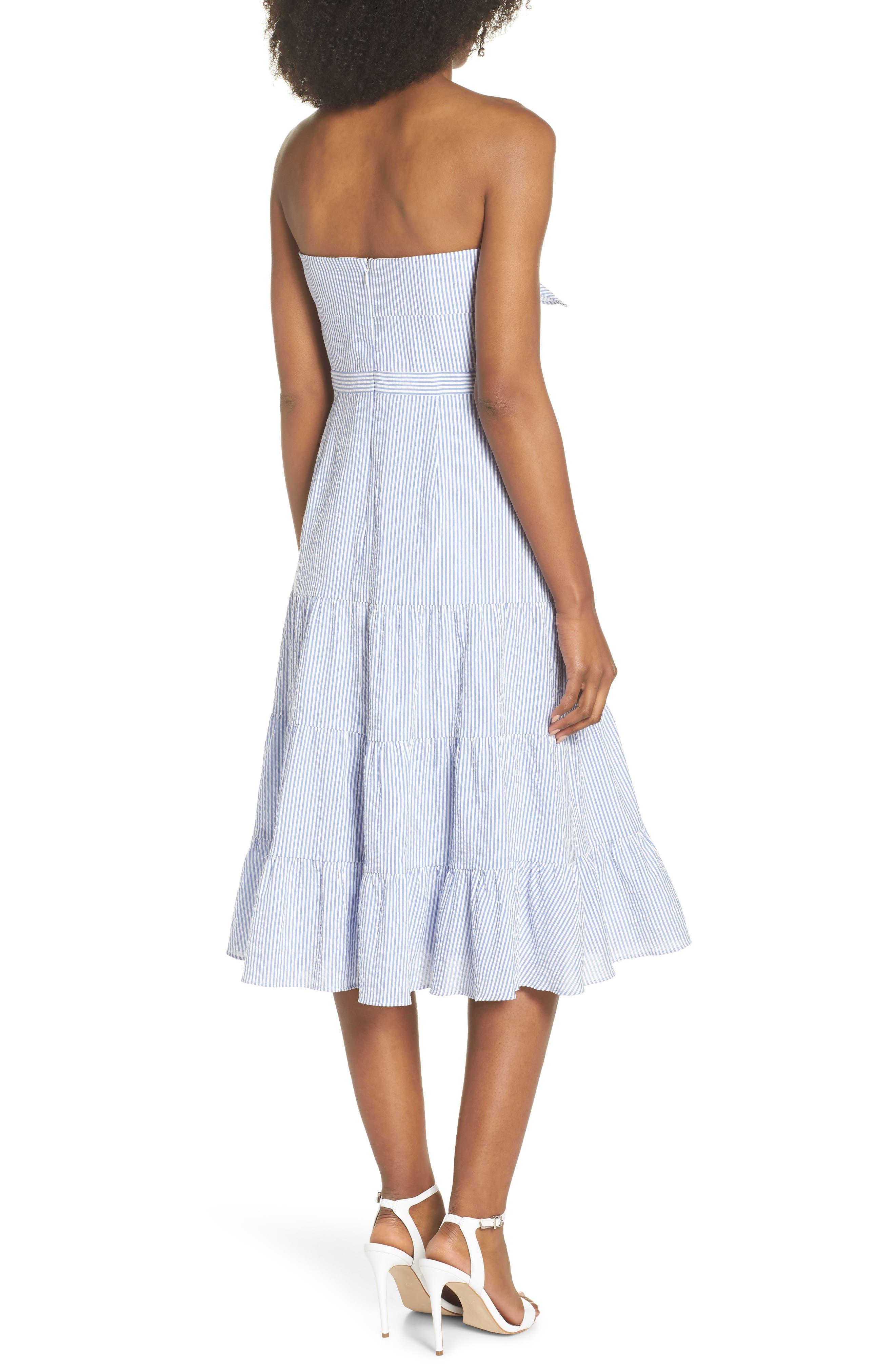 Tie Front Strapless Dress,                             Alternate thumbnail 3, color,