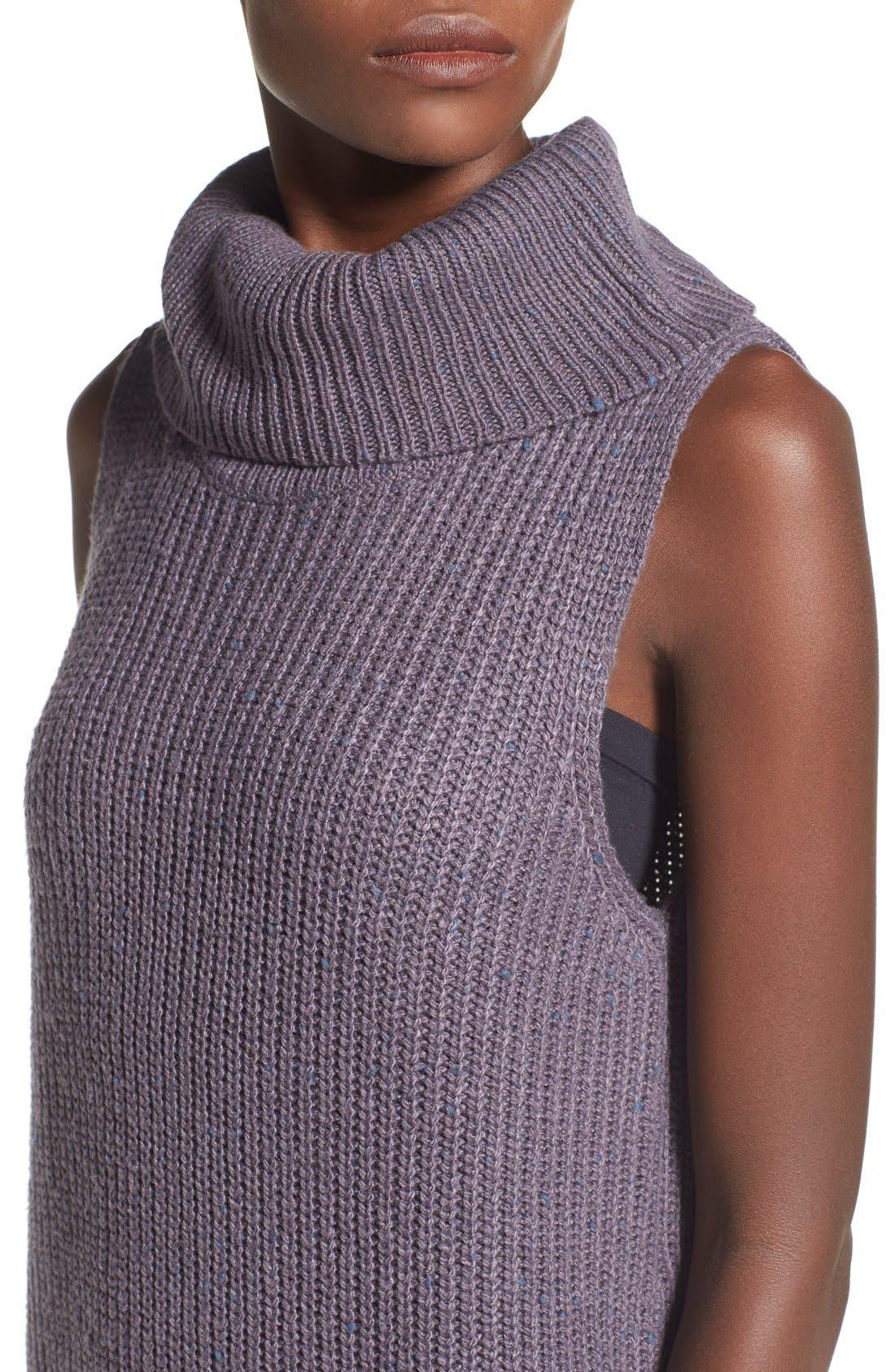 Sleeveless Turtleneck Sweater Dress,                             Alternate thumbnail 5, color,                             021
