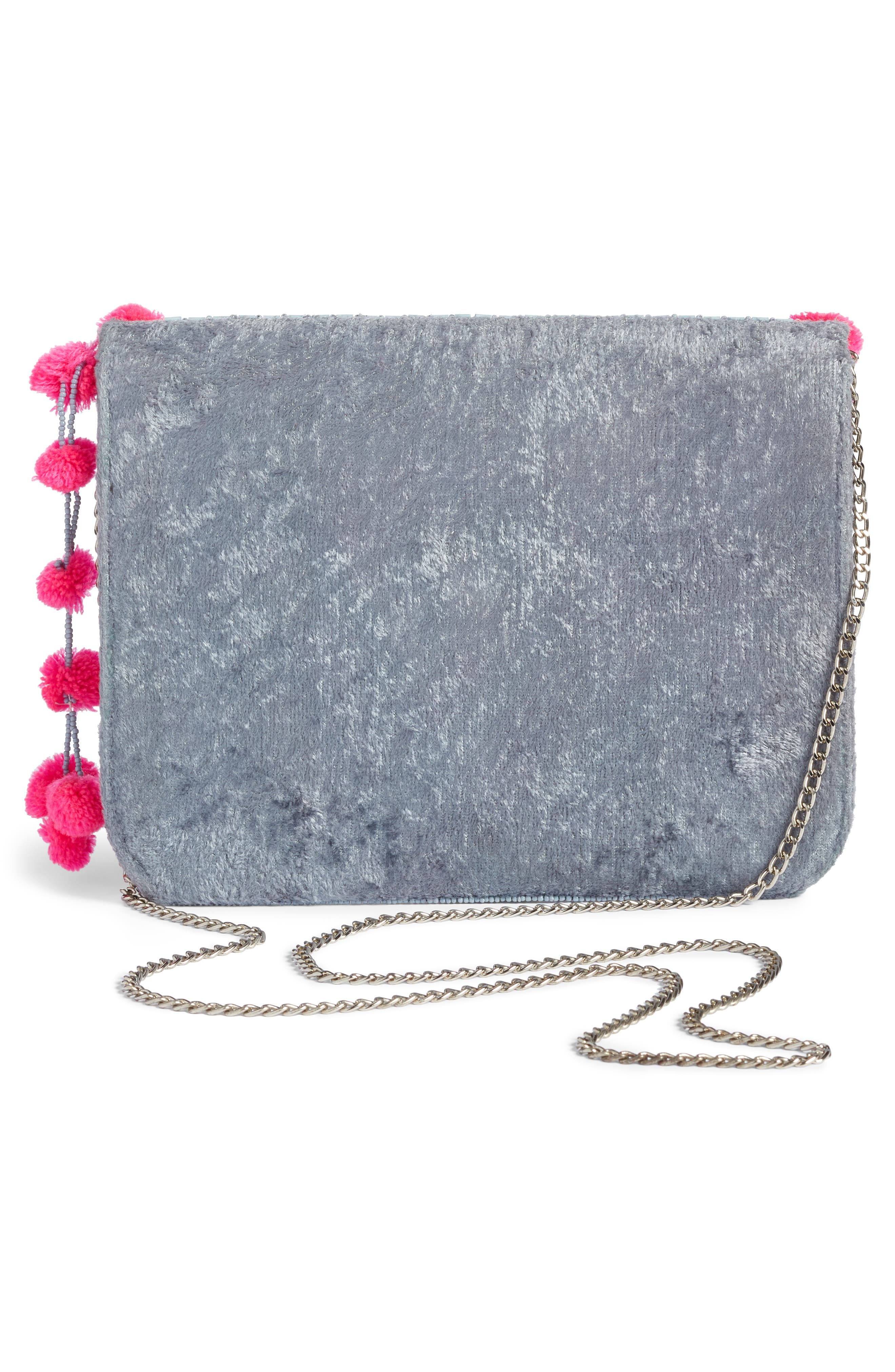 Mariah Beaded Clutch,                             Alternate thumbnail 3, color,                             BLUE/ PINK