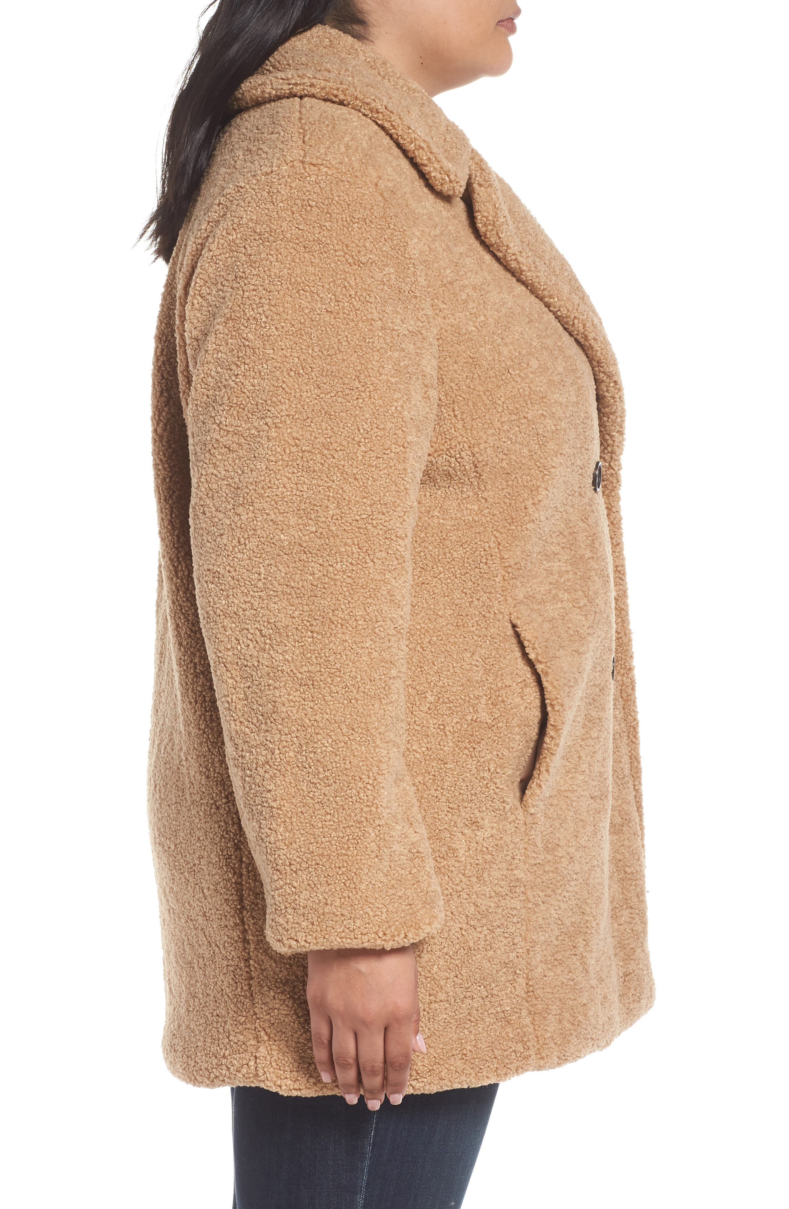 KENSIE,                             Teddy Bear Notch Collar Faux Fur Coat,                             Alternate thumbnail 4, color,                             788