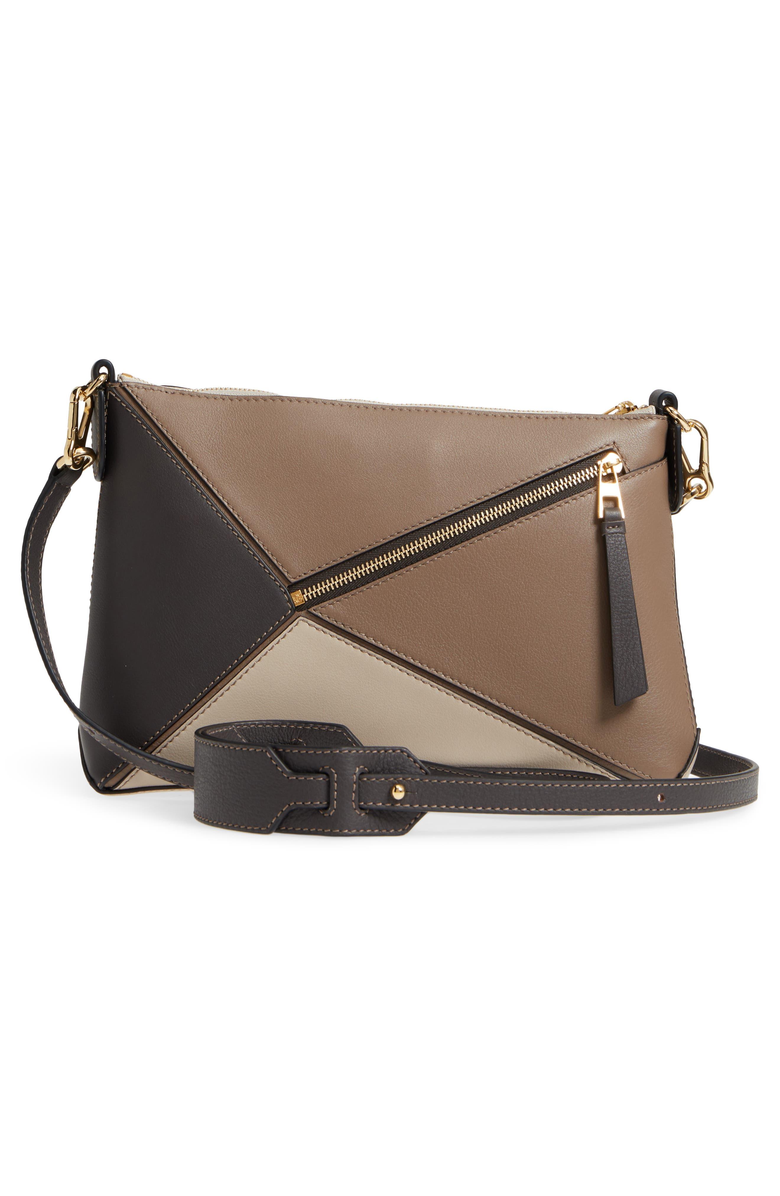 Mini Puzzle Calfskin Leather Crossbody Bag,                             Alternate thumbnail 3, color,                             DARK TAUPE MULTITONE