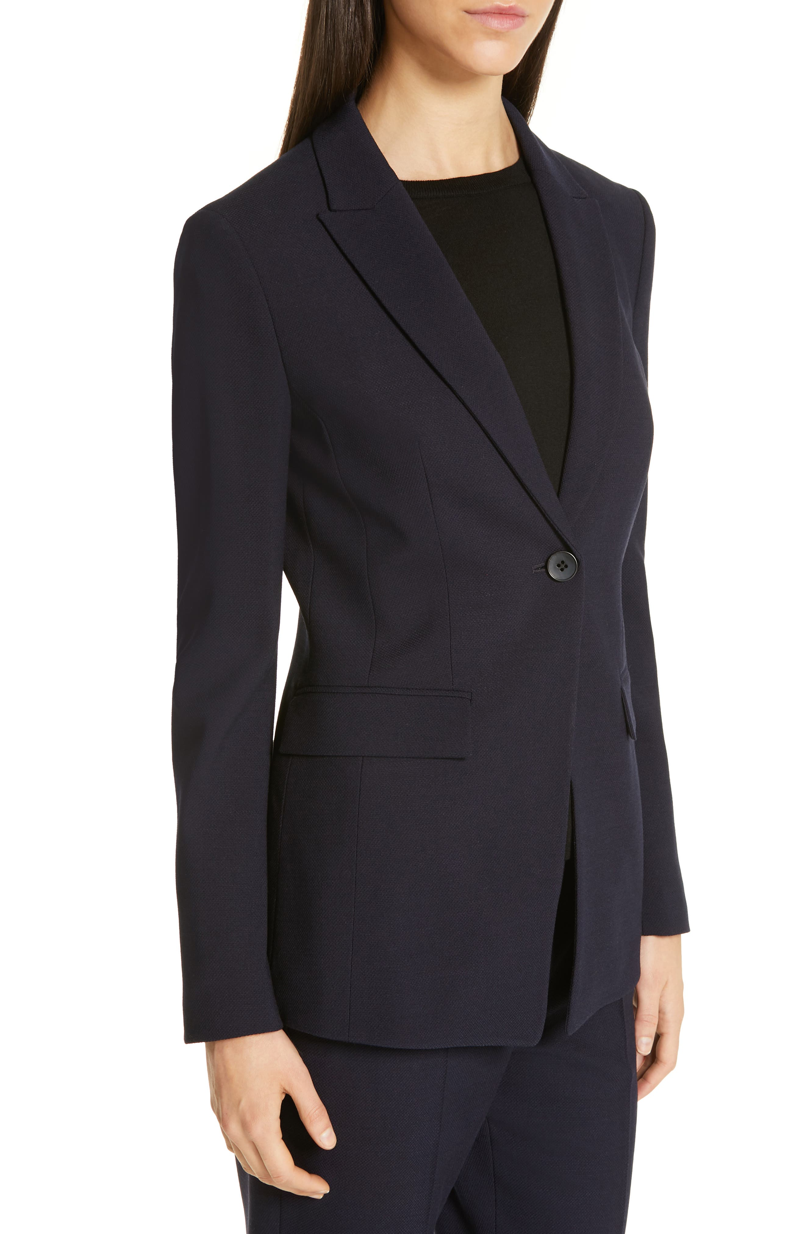 Jusanna Stretch Wool Suit Jacket,                             Alternate thumbnail 4, color,                             NAVY