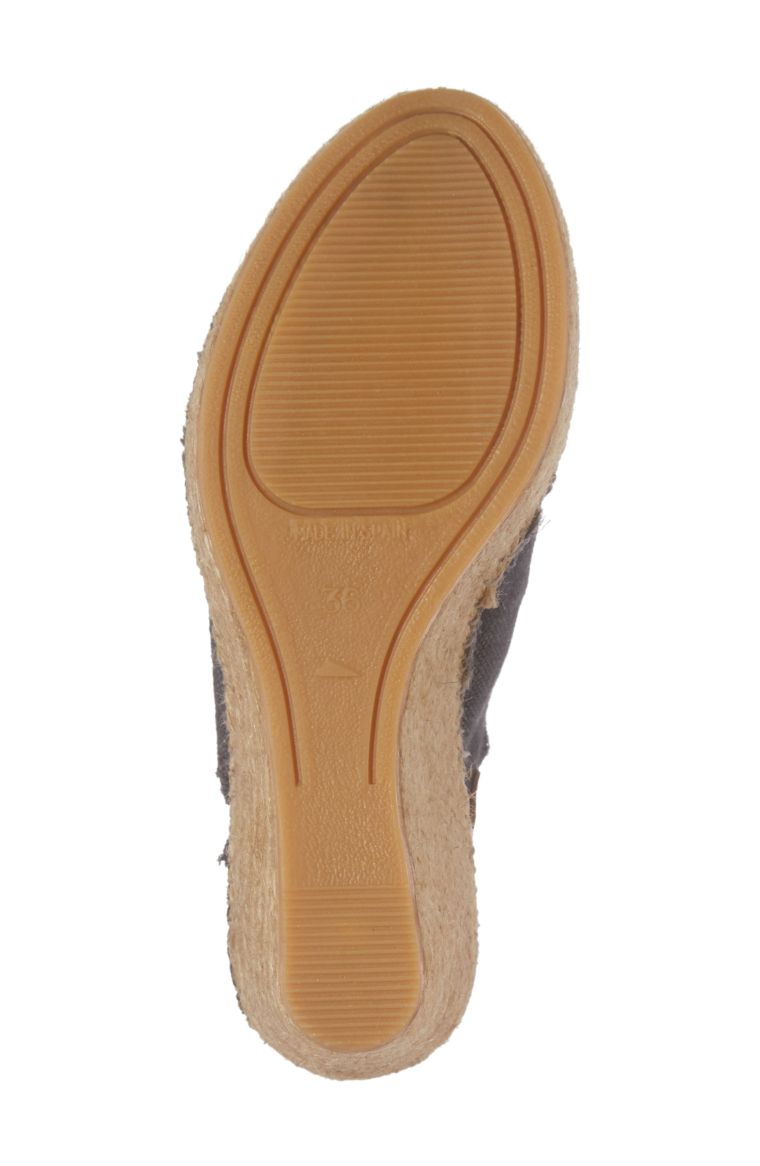 'Lugano' Espadrille Wedge Sandal,                             Alternate thumbnail 6, color,                             BLACK FABRIC