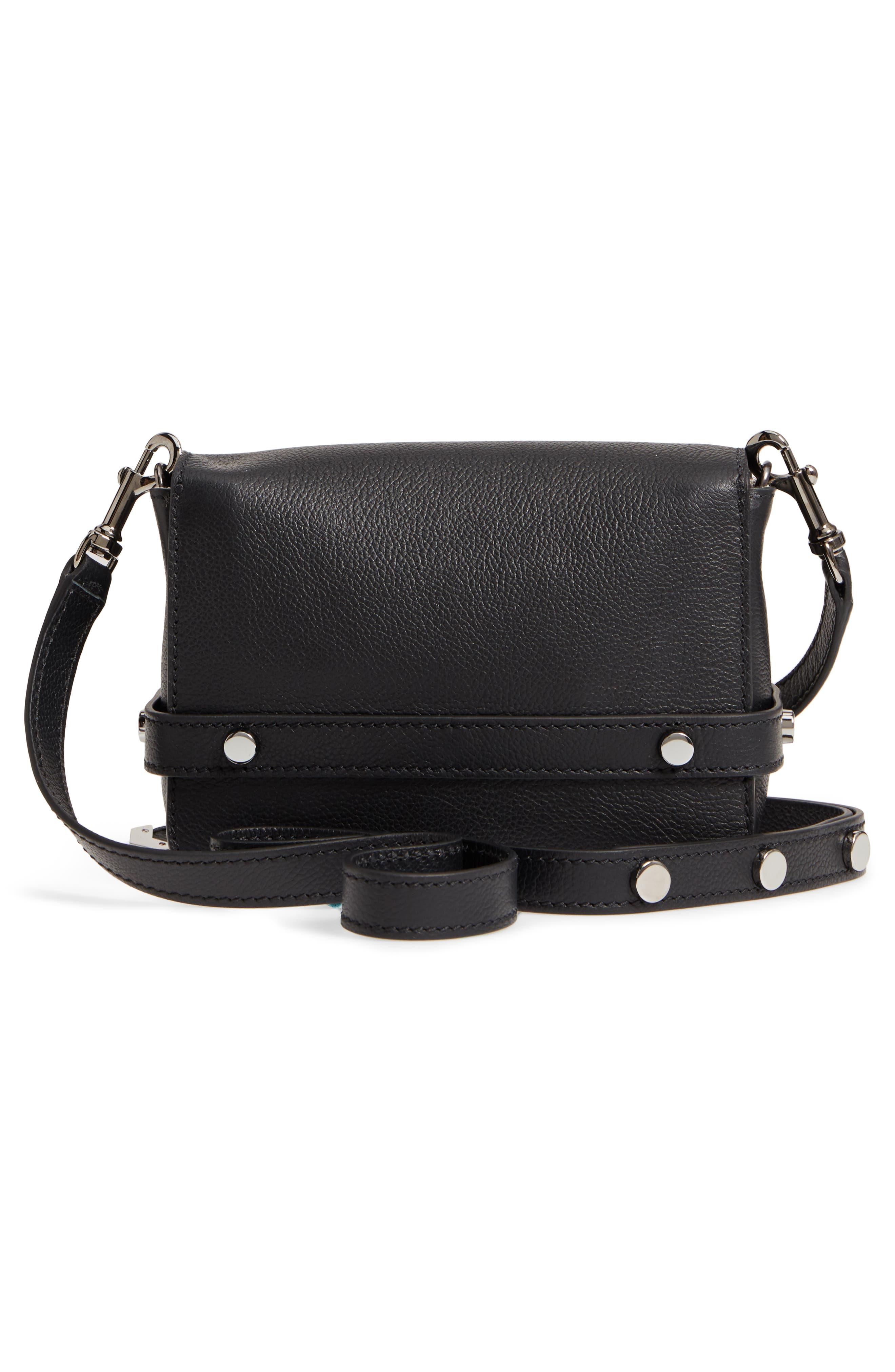 Lexi Grained Leather Crossbody Bag,                             Alternate thumbnail 3, color,                             BLACK
