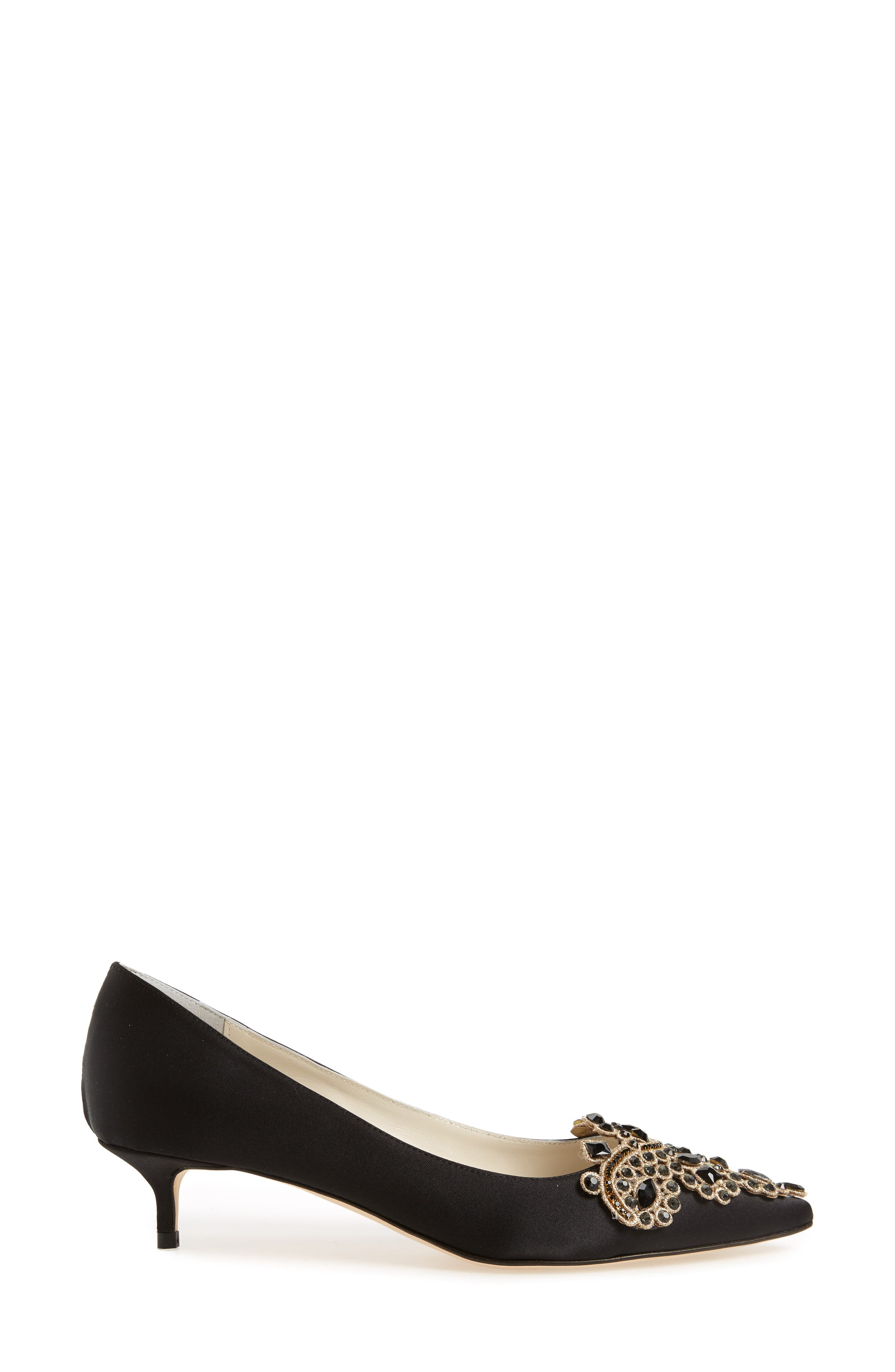 Brinsley Embellished Pointy Toe Pump,                             Alternate thumbnail 3, color,                             BLACK SATIN