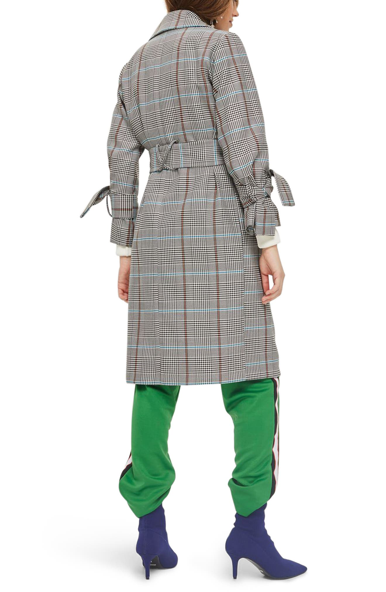 TOPSHOP,                             Check Belted Coat,                             Alternate thumbnail 2, color,                             001