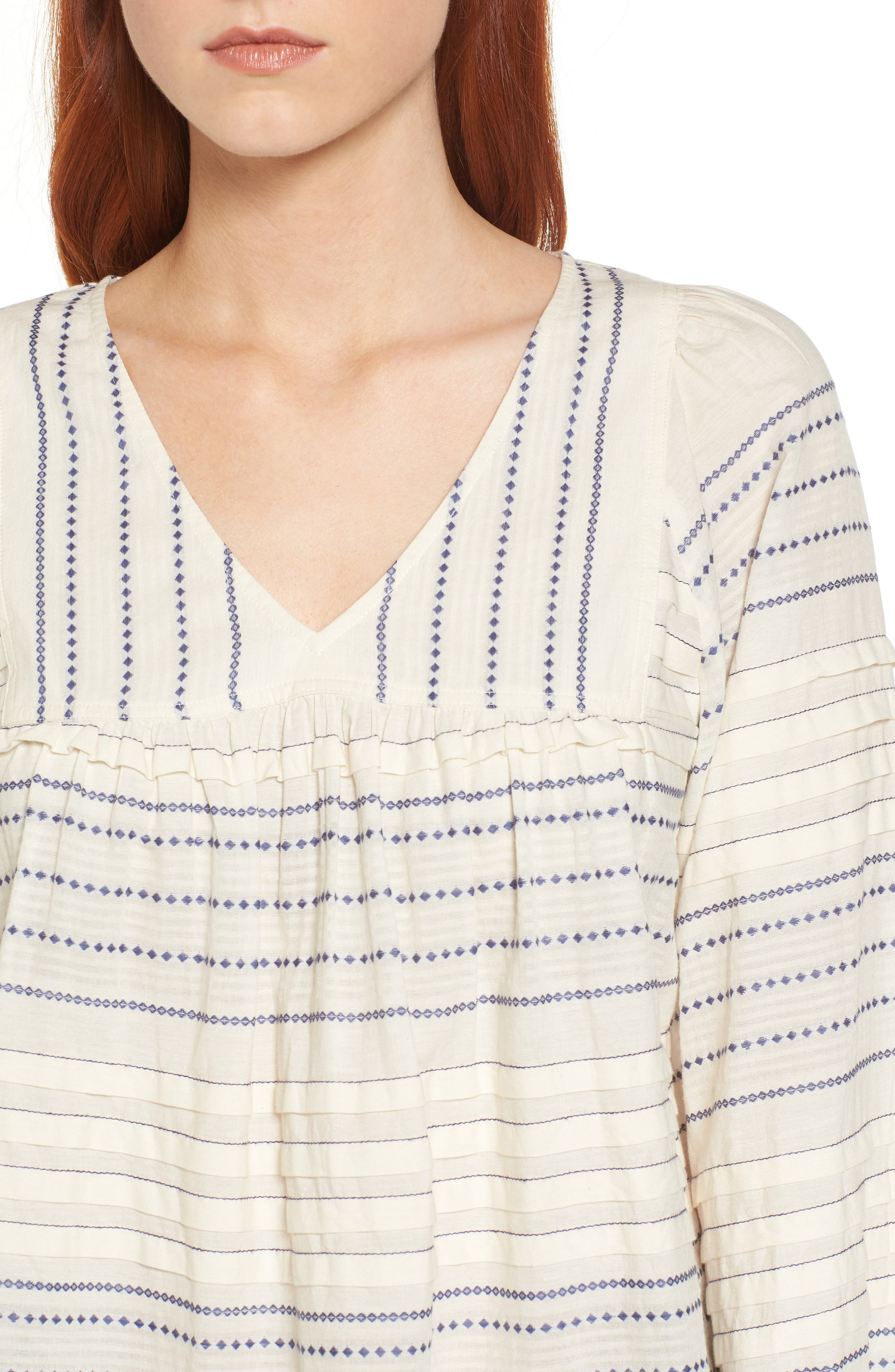 Paros Embroidered Cotton Peasant Blouse,                             Alternate thumbnail 4, color,                             906