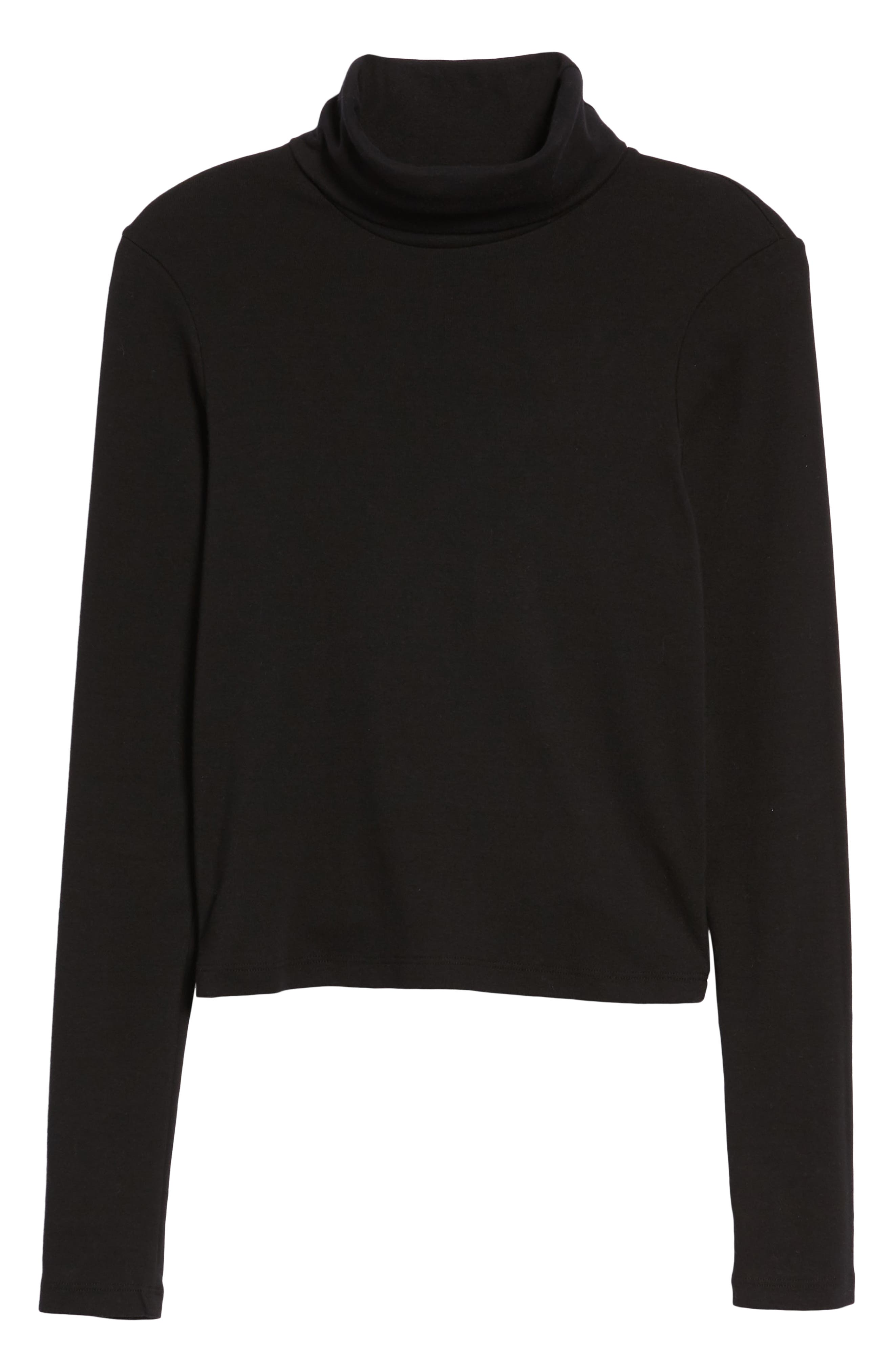 Turtleneck Stretch Cotton Crop Top,                             Alternate thumbnail 6, color,                             001