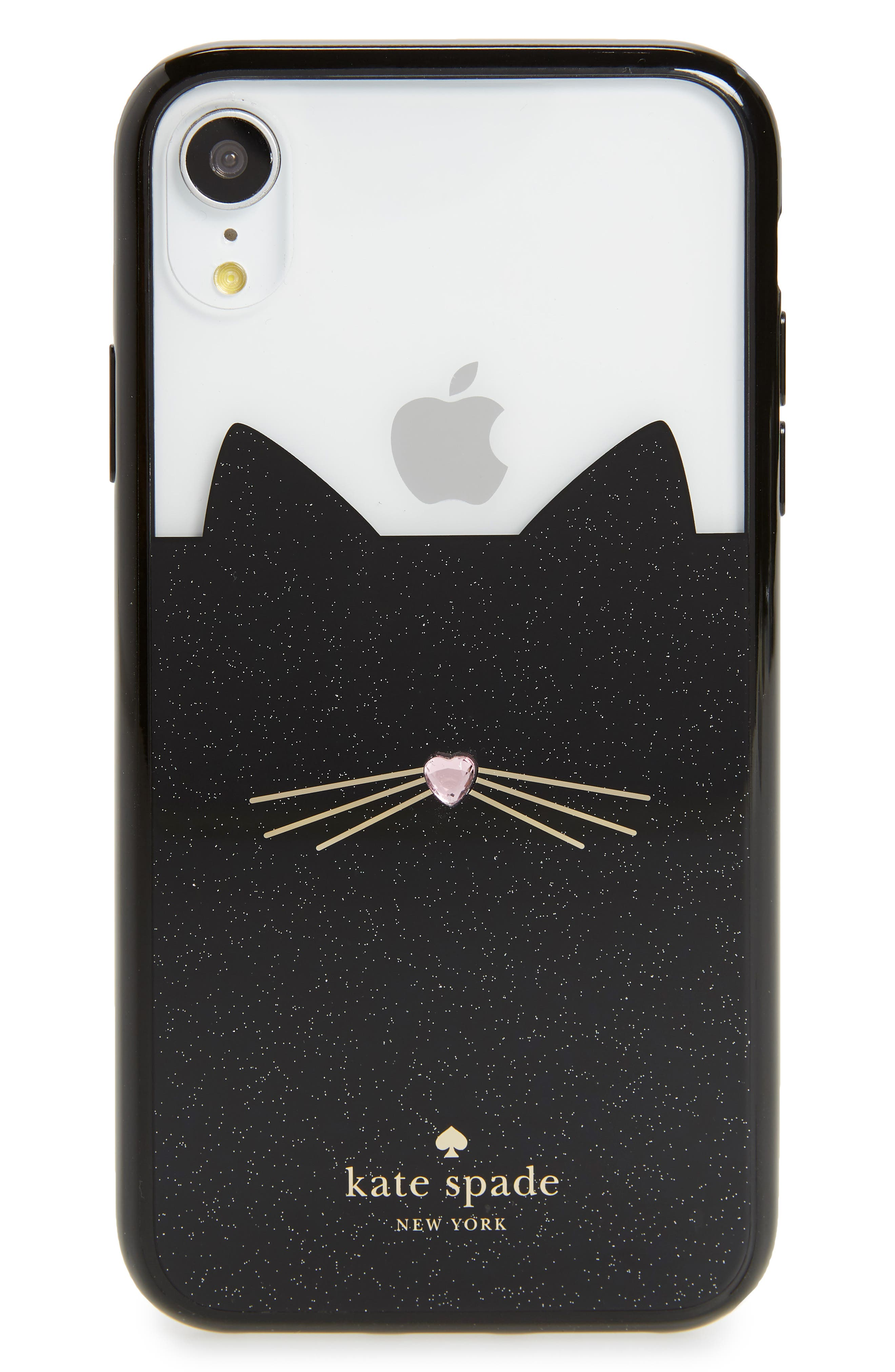 KATE SPADE NEW YORK jeweled glitter cat iPhone X/Xs/Xs Max & XR case, Main, color, BLACK MULTI