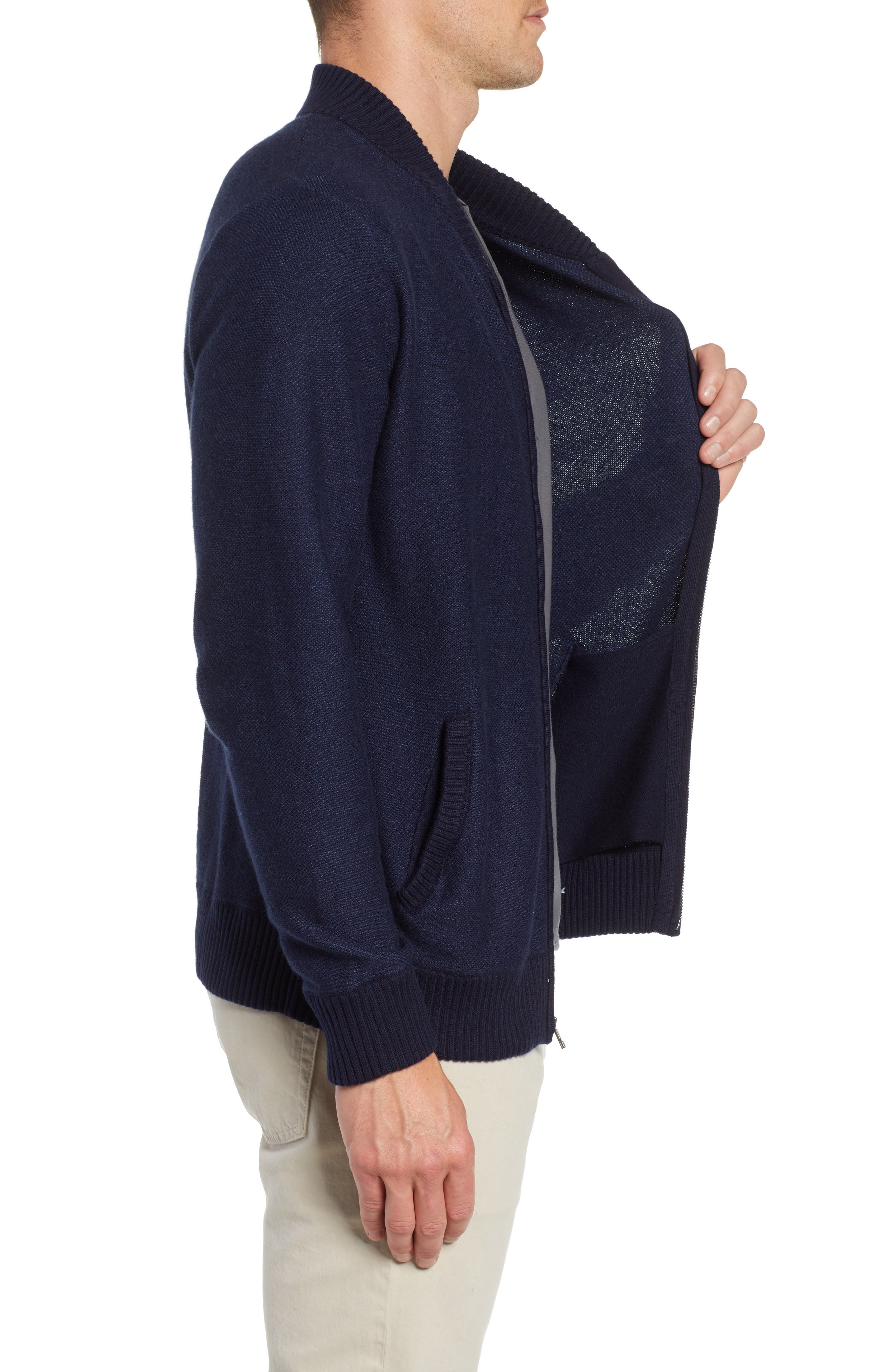 Cotton & Cashmere Bomber Sweater,                             Alternate thumbnail 3, color,                             MIDNIGHT BLUE