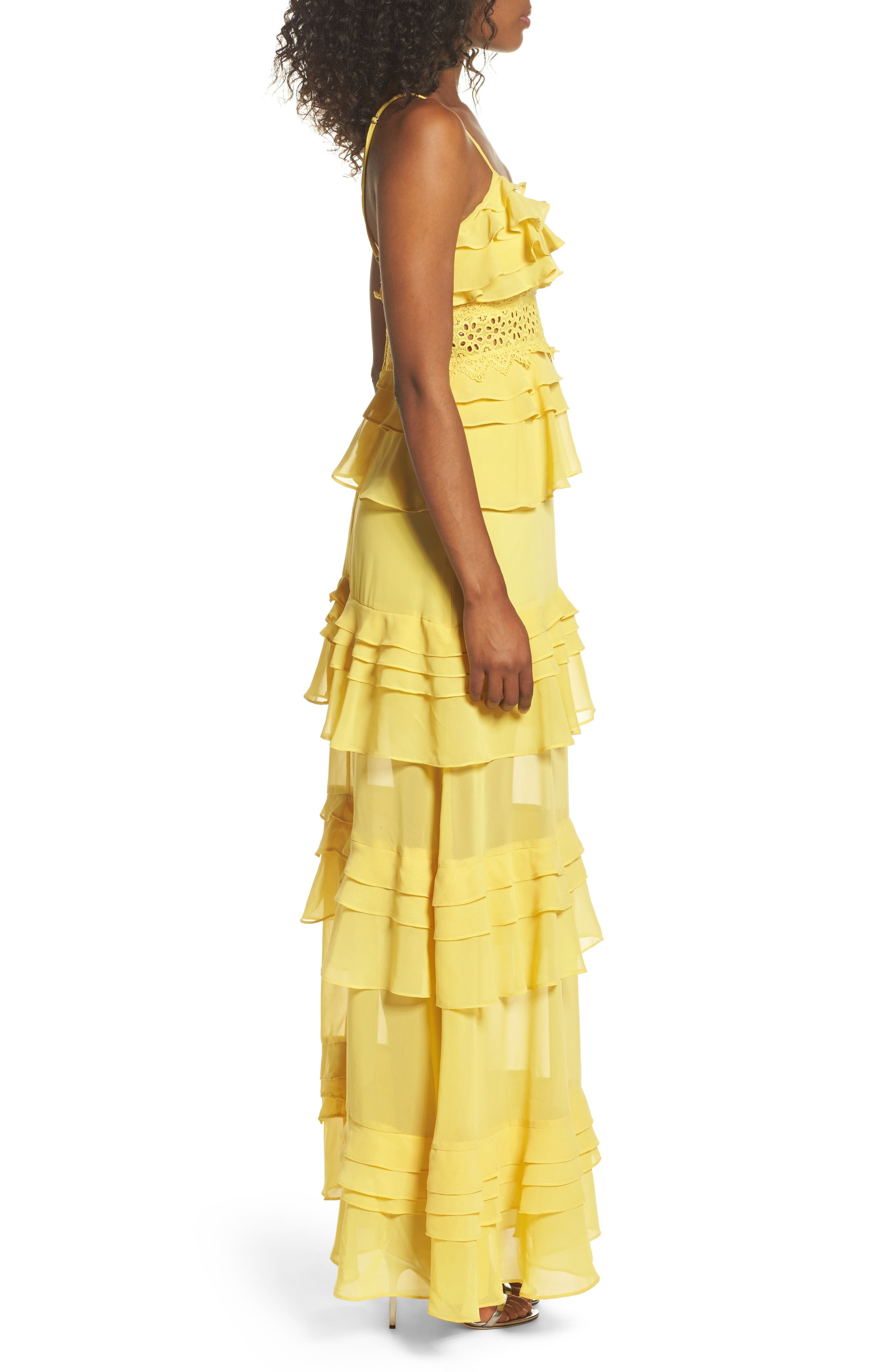 Ruffle Maxi Dress,                             Alternate thumbnail 3, color,                             700