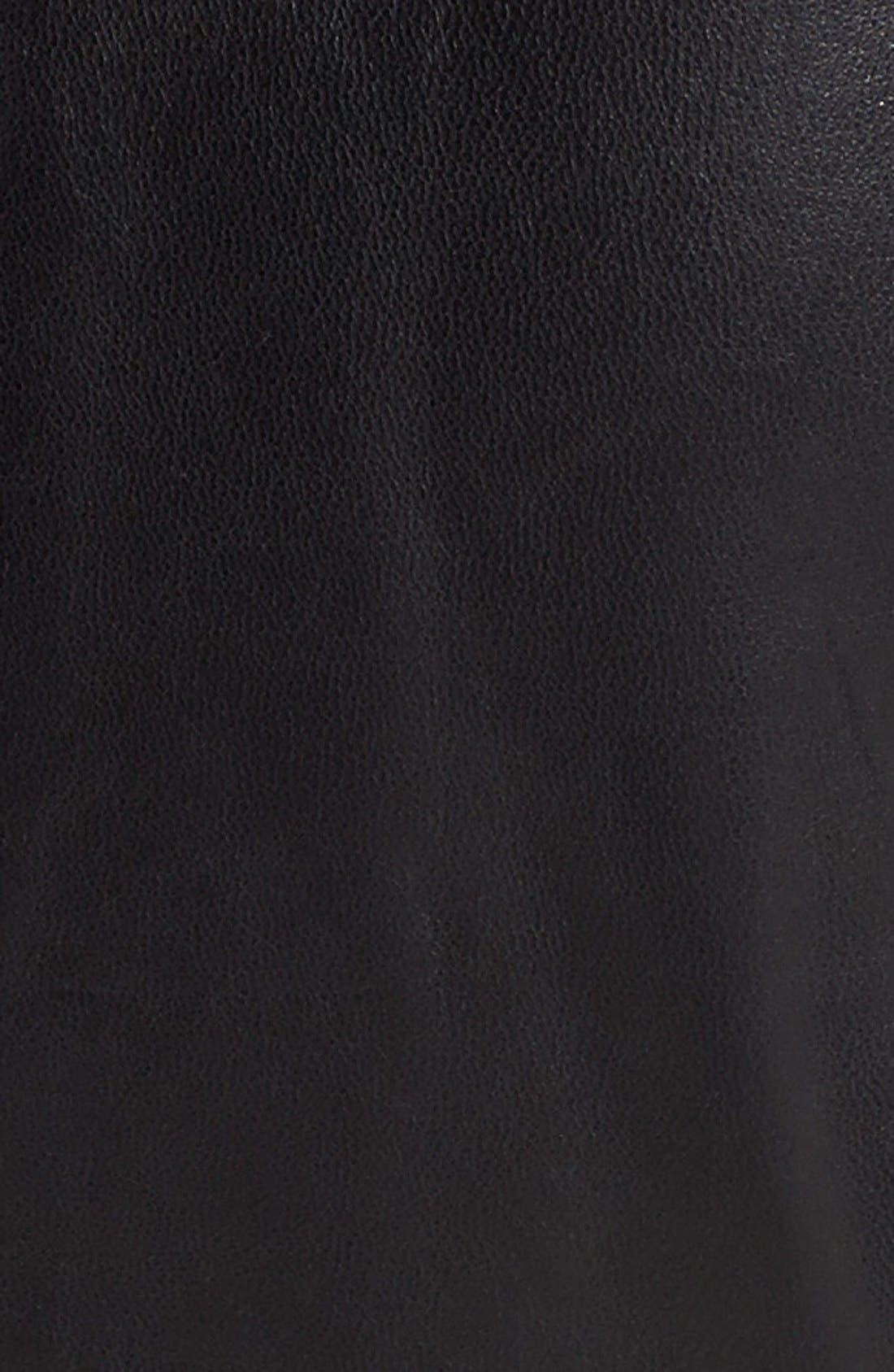 NICOLE MILLER,                             Trapunto Stitch Lambskin Leather Moto Jacket,                             Alternate thumbnail 3, color,                             001