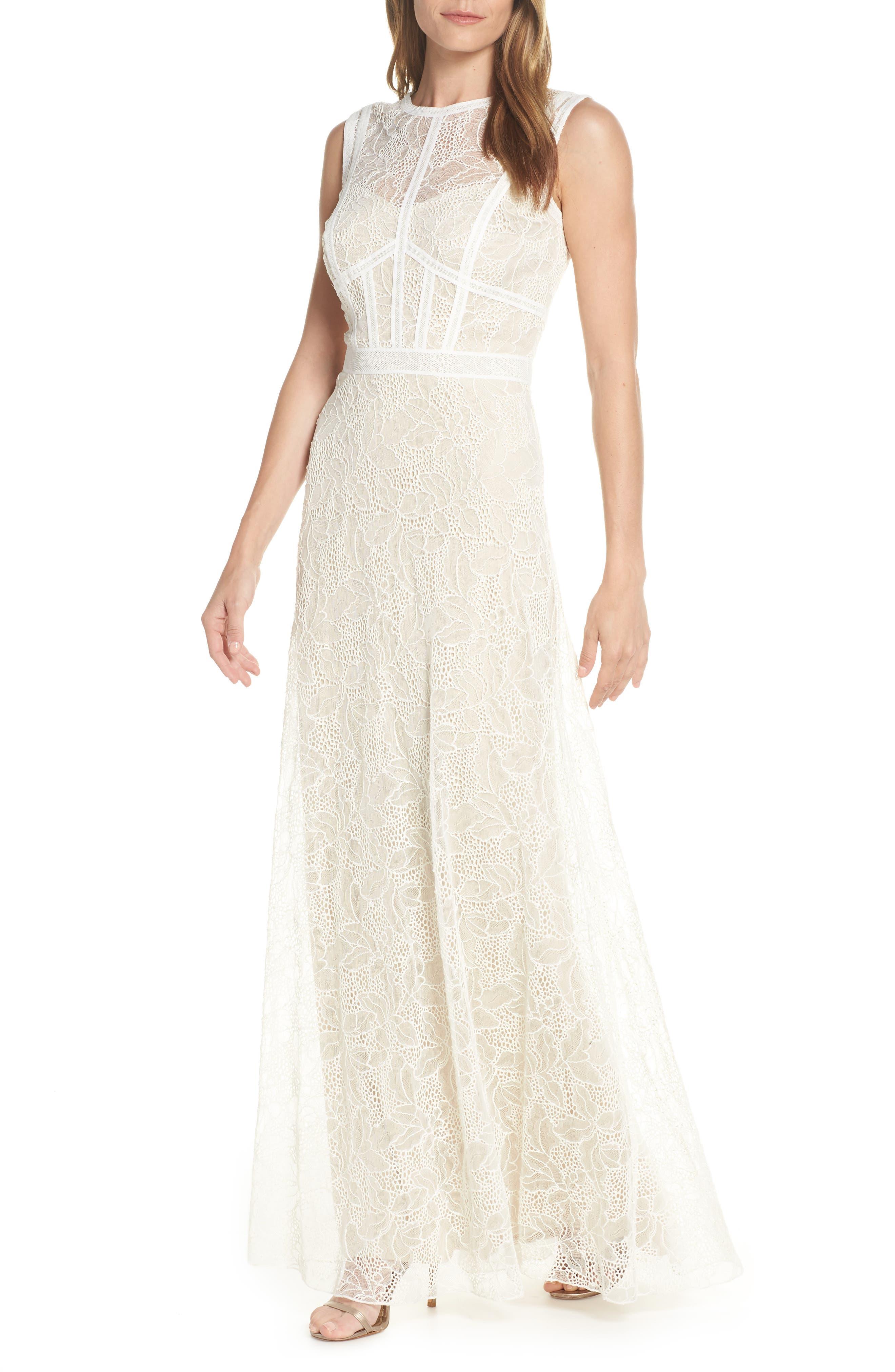 Tadashi Shoji Lace Evening Dress, Ivory