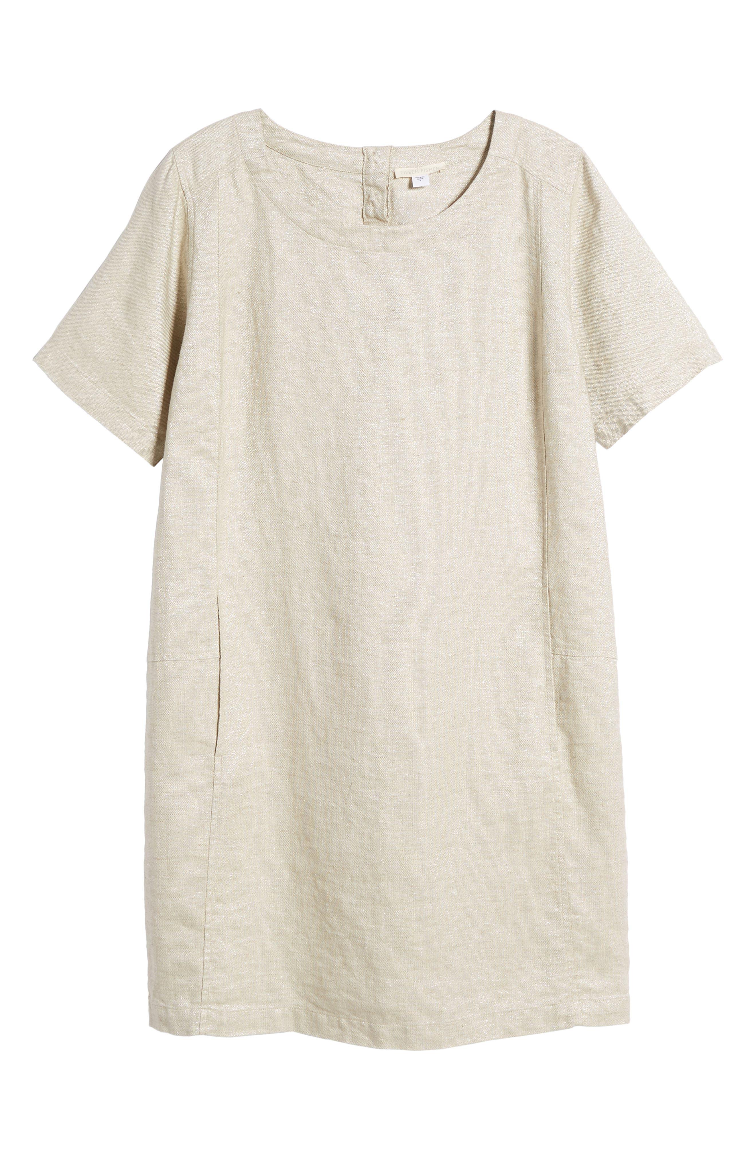 Scoop Neck Linen Blend Dress,                             Alternate thumbnail 7, color,                             257
