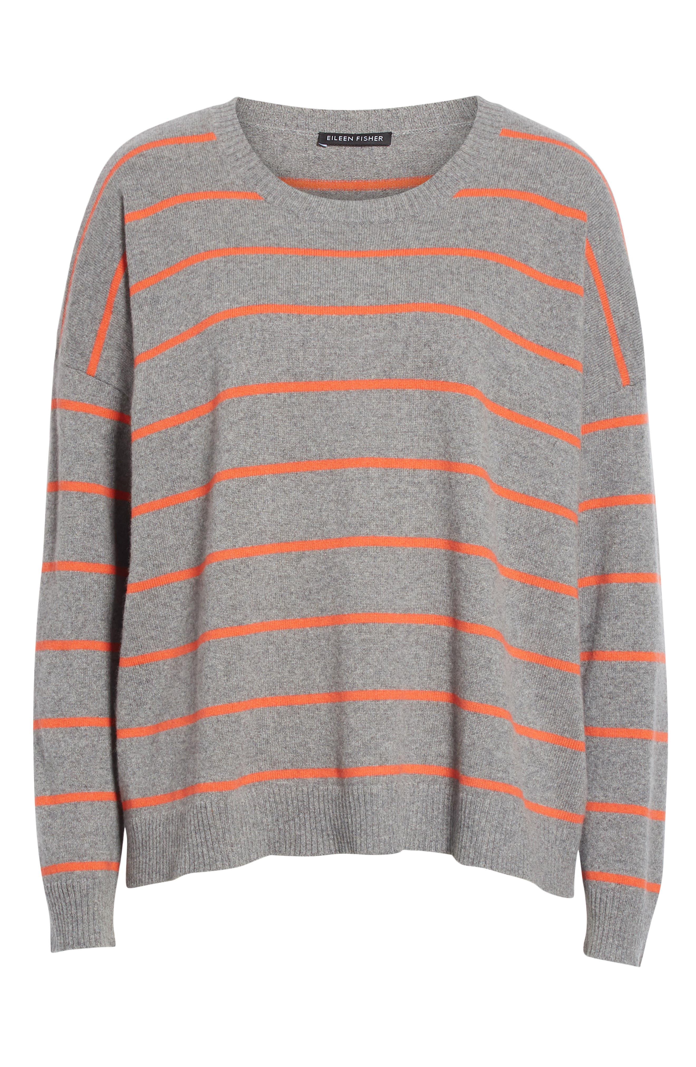 Stripe Boxy Cashmere & Wool Sweater,                             Alternate thumbnail 6, color,                             ASH