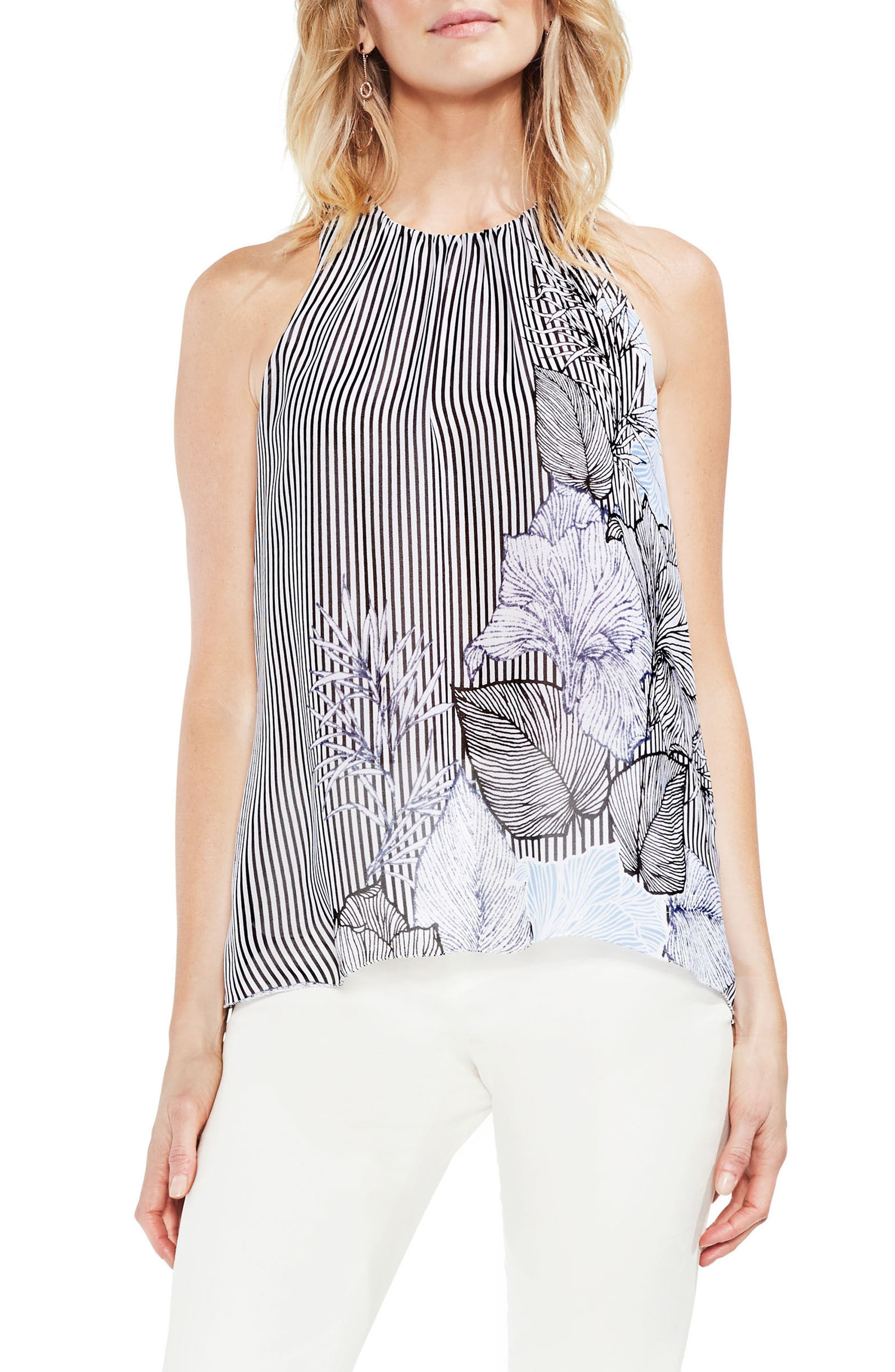 Pattern Mix Sleeveless Blouse,                         Main,                         color, 001