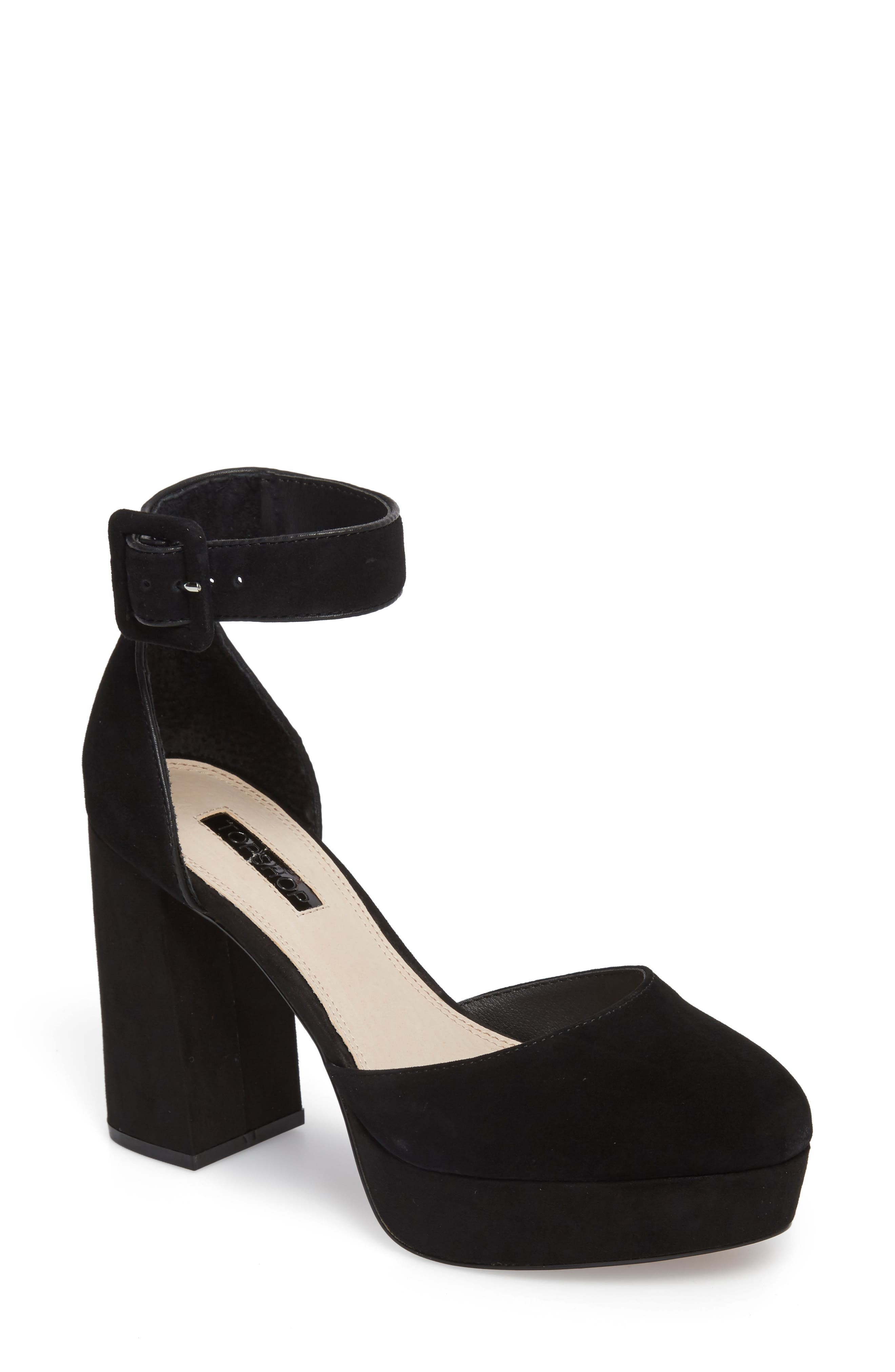 Ankle Strap Platform Sandal,                             Main thumbnail 1, color,                             001