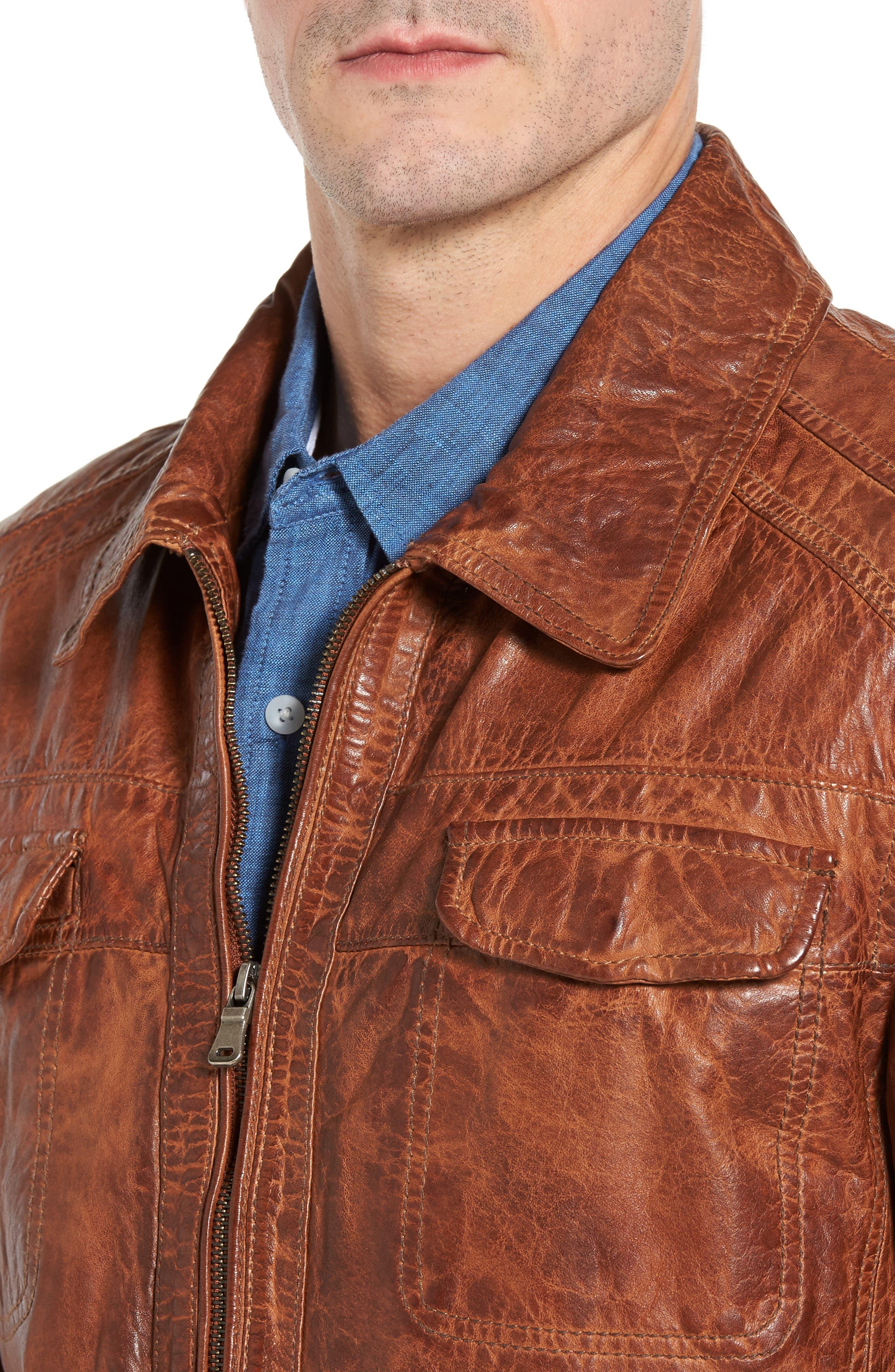 Washed Lamb Leather Jacket,                             Alternate thumbnail 4, color,                             210