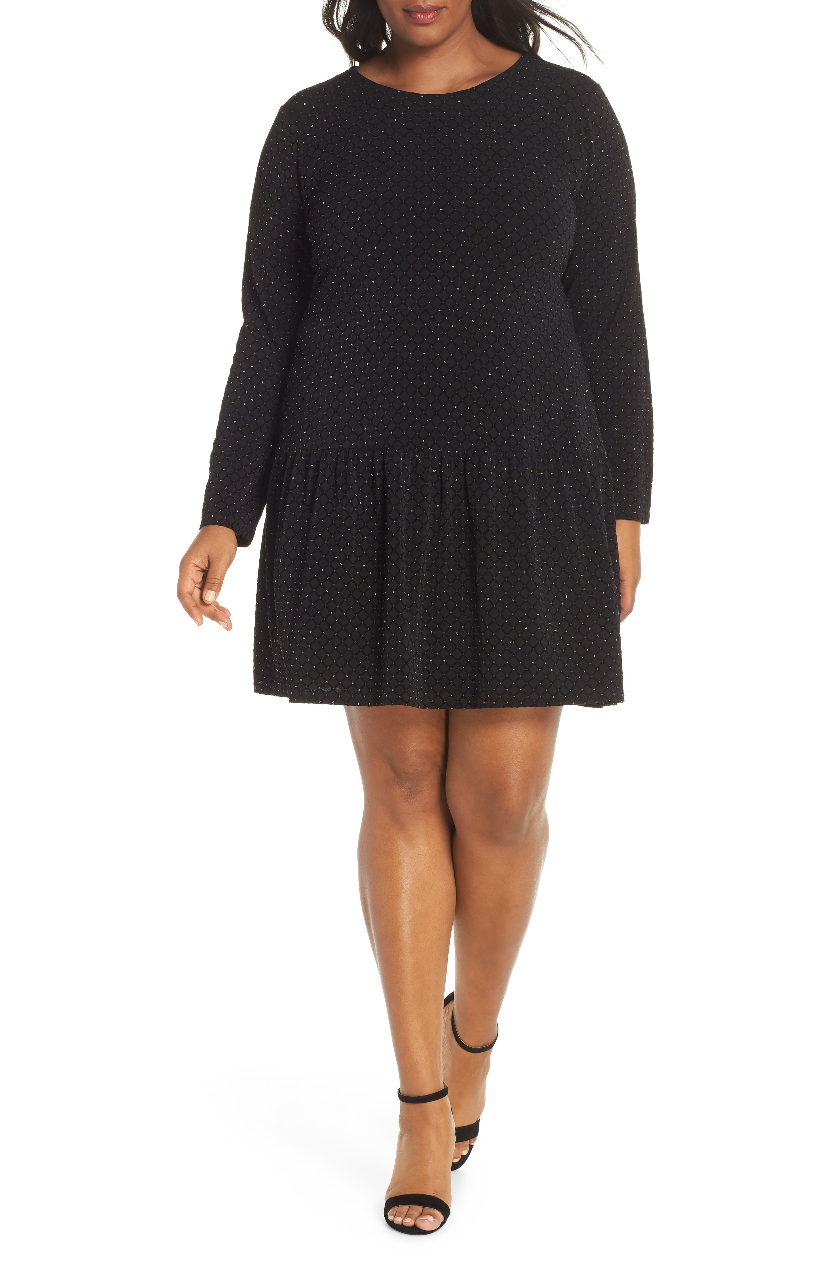 Long Sleeve Pleated Skirt Dress, Main, color, BLACK/ GOLD
