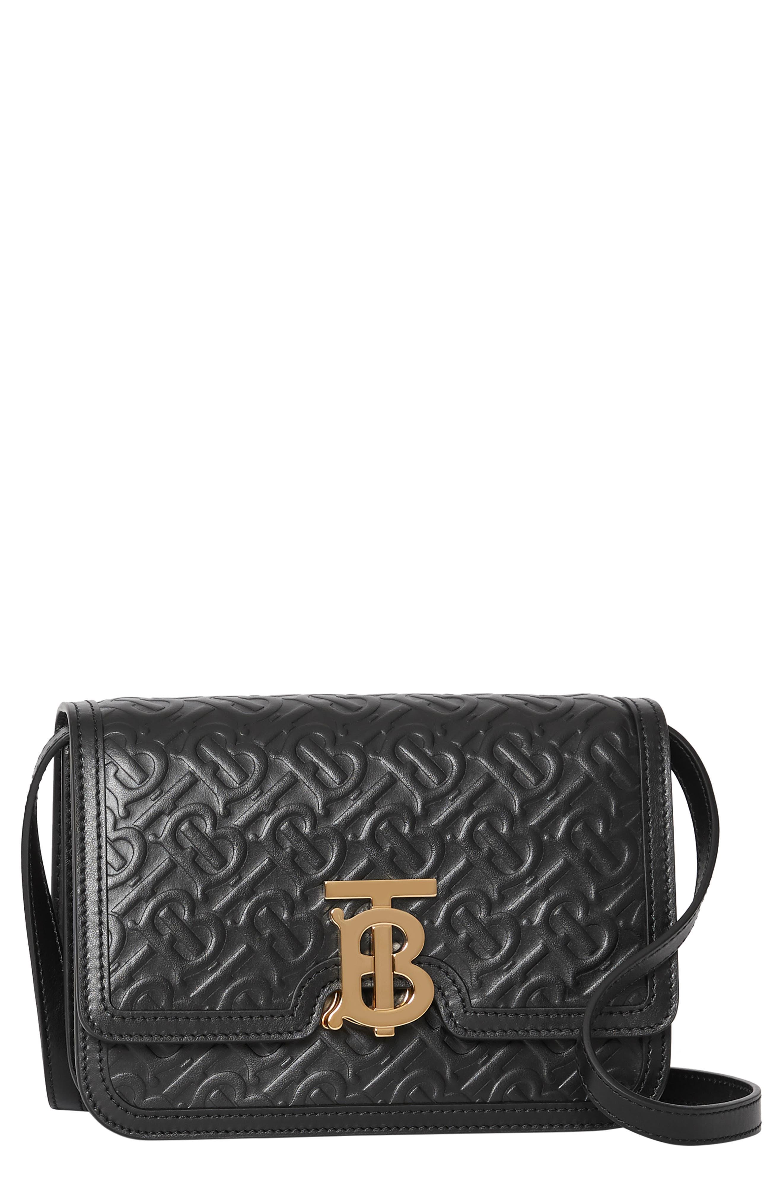 BURBERRY,                             Small Monogram Leather TB Bag,                             Main thumbnail 1, color,                             BLACK