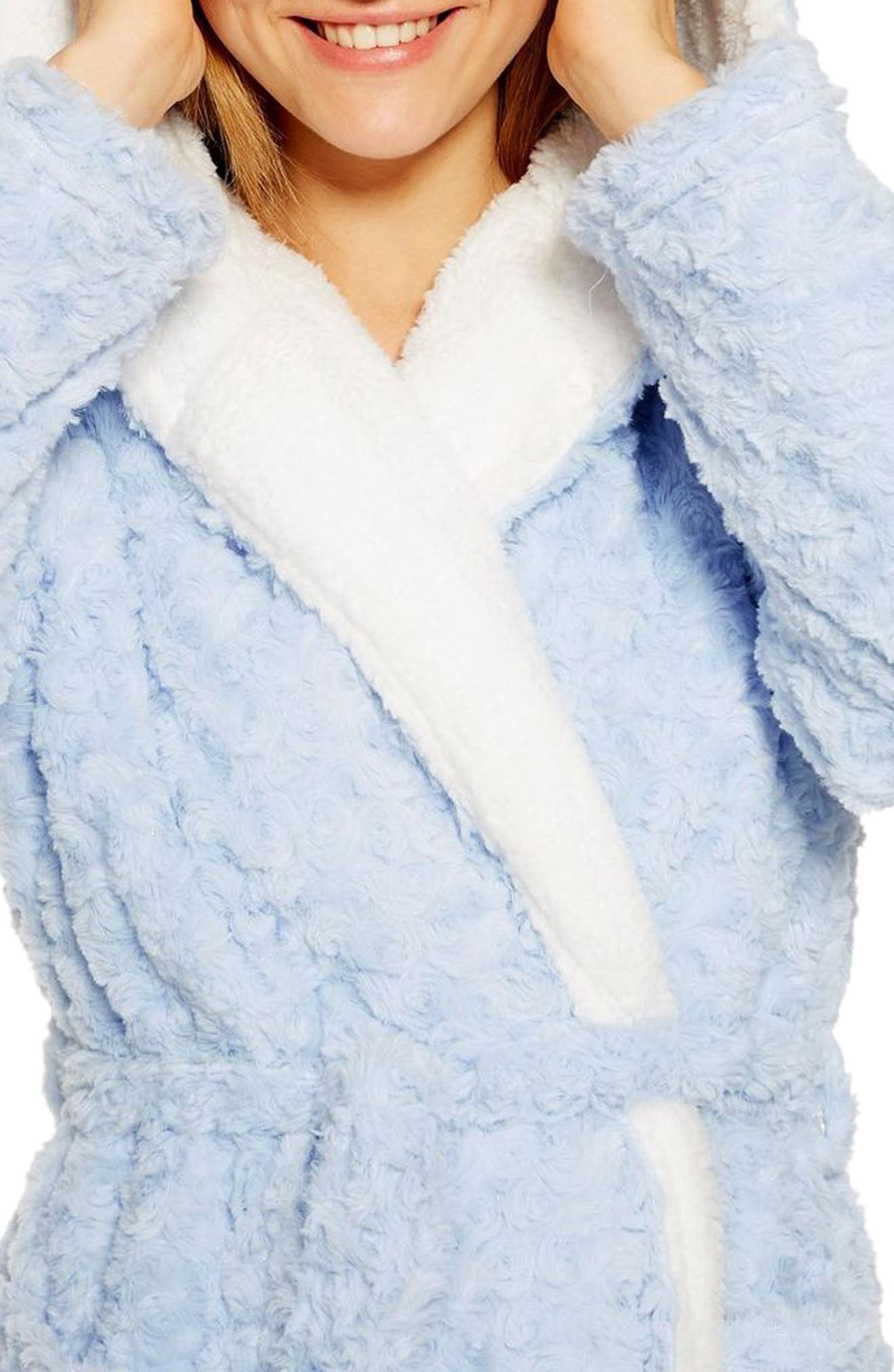 Fluffy Faux Fur Hooded Robe,                             Alternate thumbnail 3, color,                             LIGHT BLUE