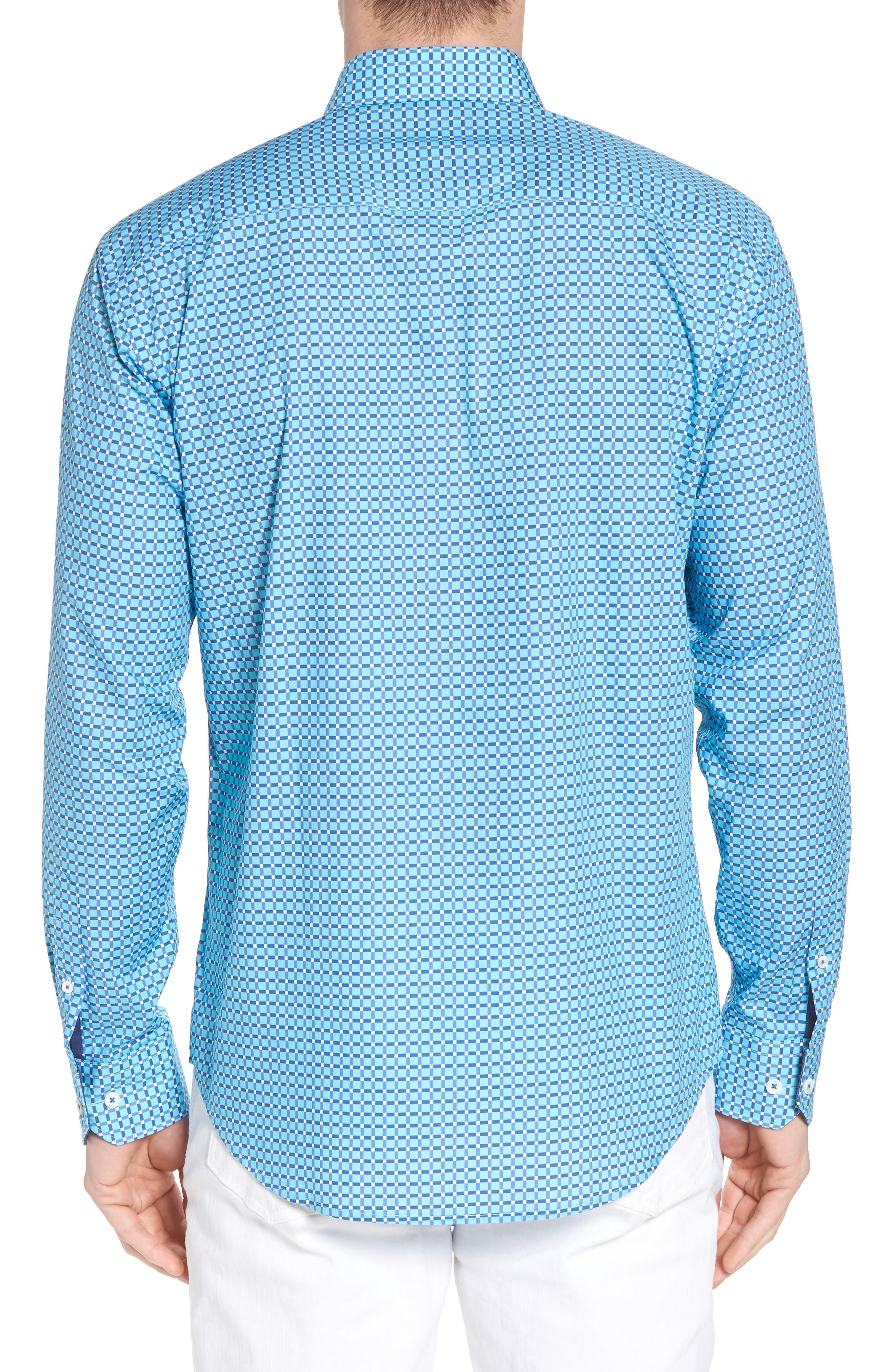 Shaped Fit Print Sport Shirt,                             Alternate thumbnail 7, color,