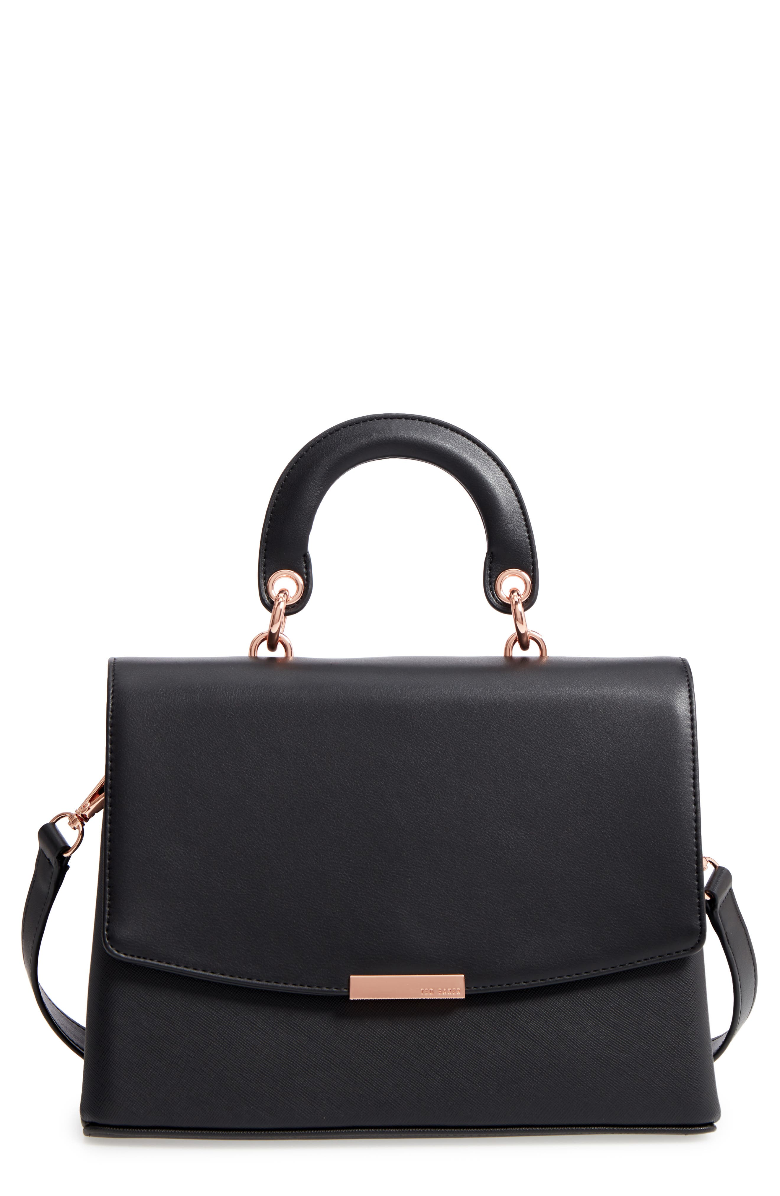 Keiira Lady Bag Faux Leather Top Handle Satchel,                             Main thumbnail 1, color,                             001