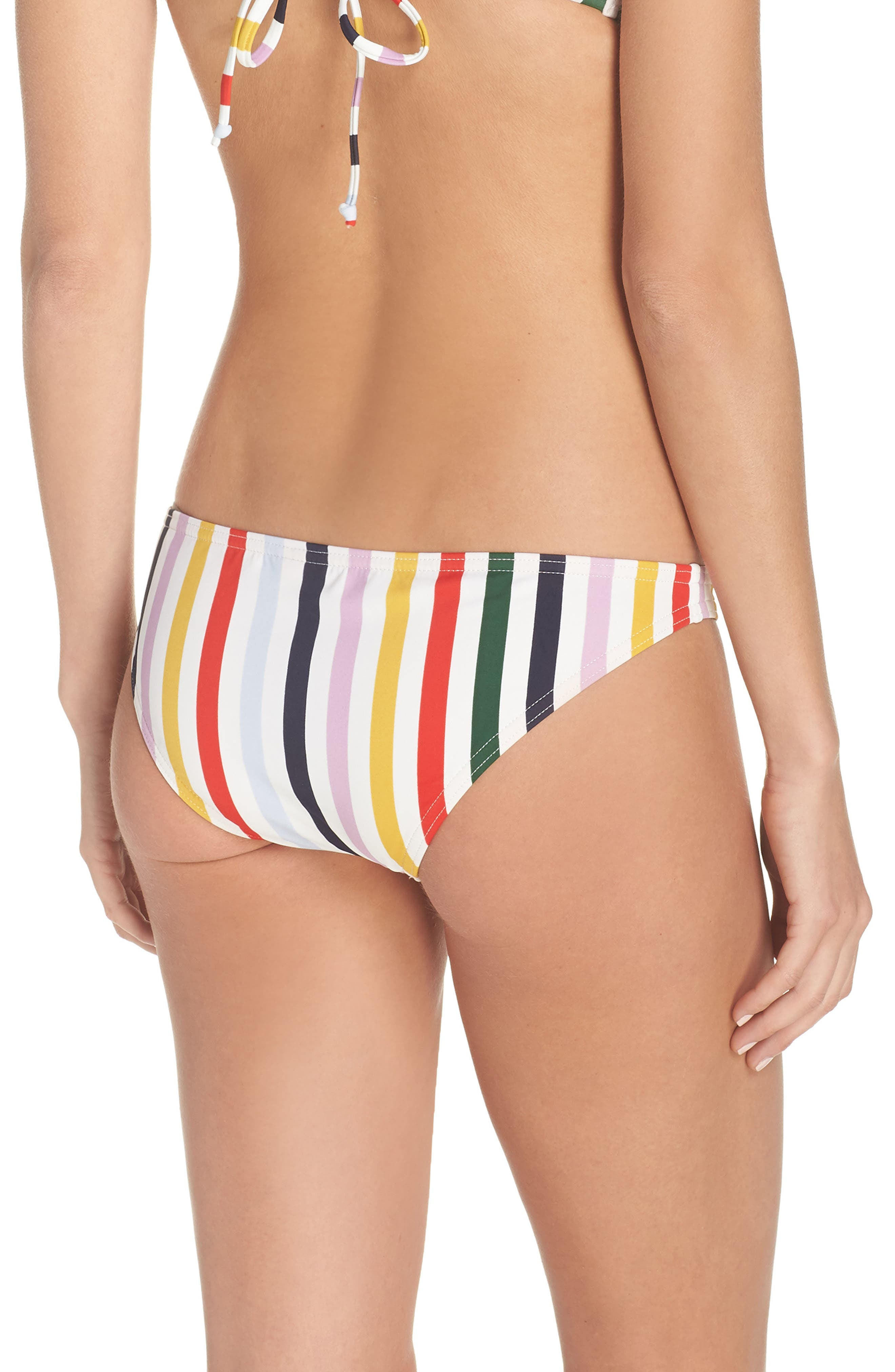 Holiday Stripe Lowrider Bikini Bottoms,                             Alternate thumbnail 2, color,                             IVORY RICH GOLD MULTI