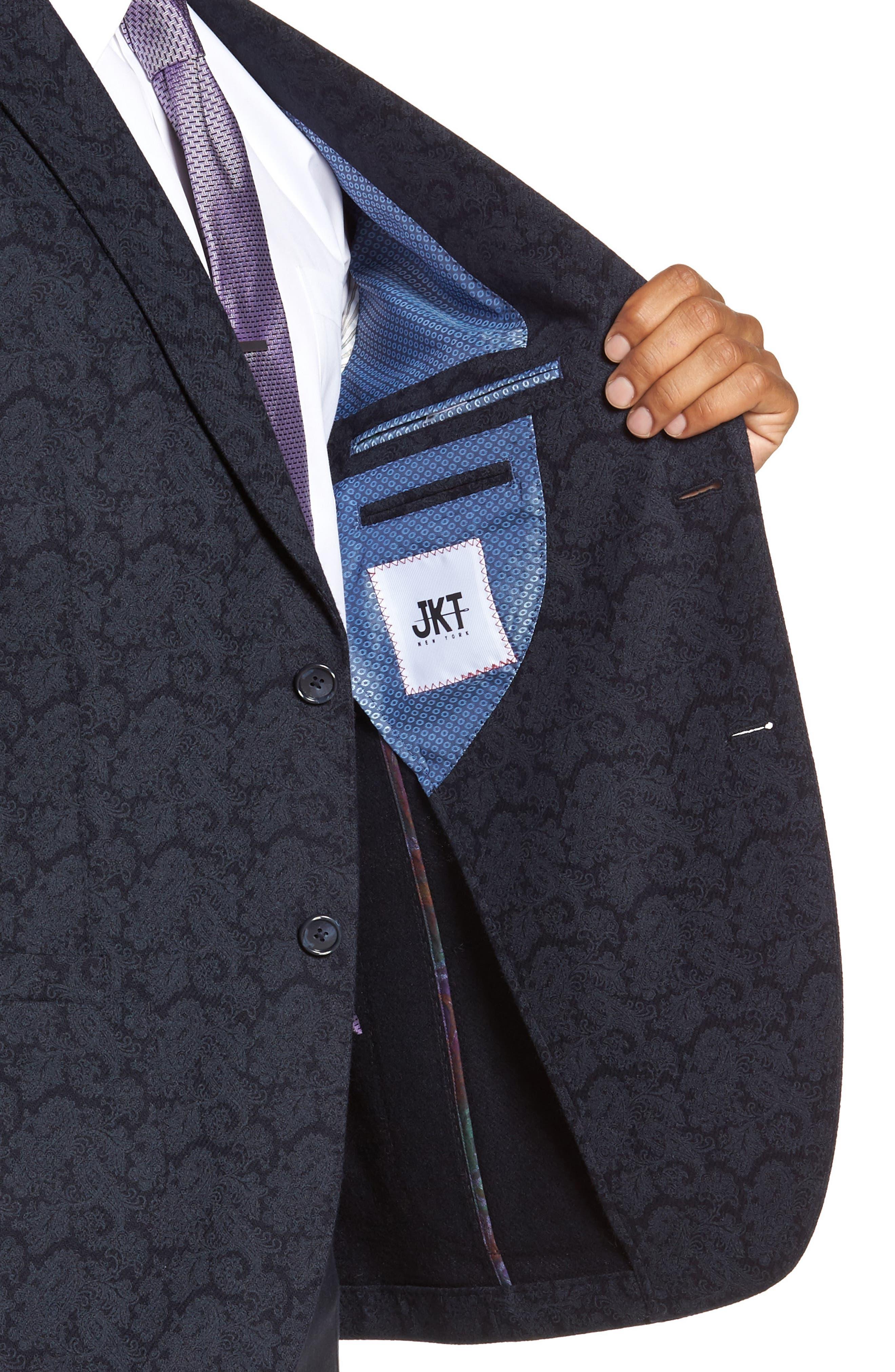 Trim Fit Paisley Wool Blend Sport Coat,                             Alternate thumbnail 4, color,                             403