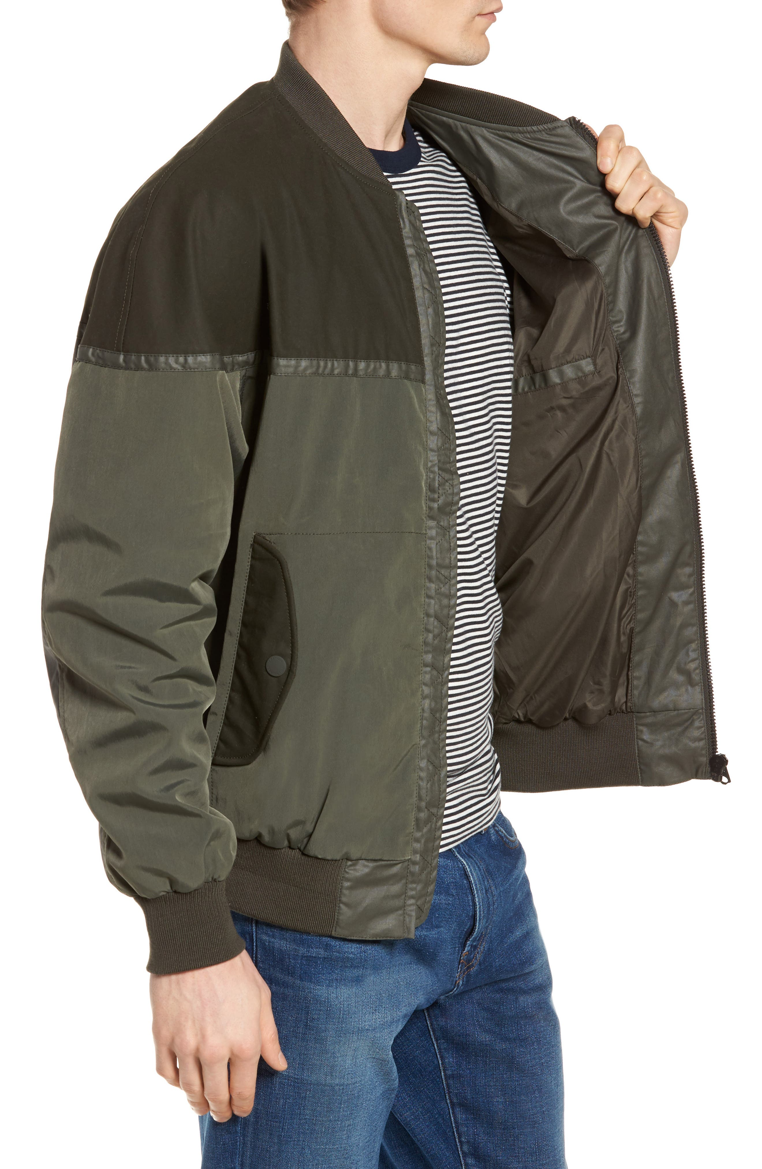 Patchwork Waxed Bomber Jacket,                             Alternate thumbnail 3, color,                             300