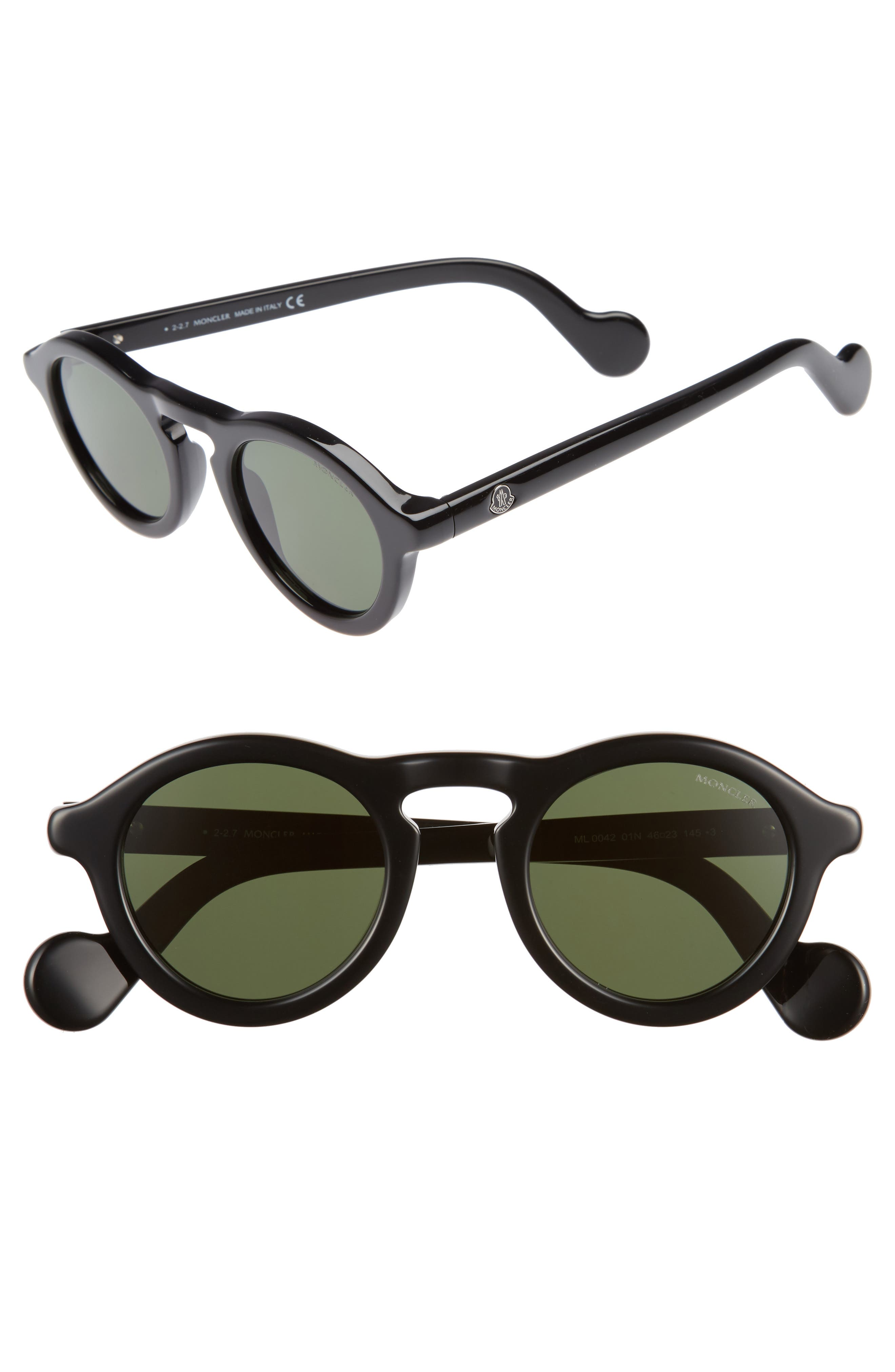 46mm Round Sunglasses,                         Main,                         color, BLACK/ VINTAGE GREEN