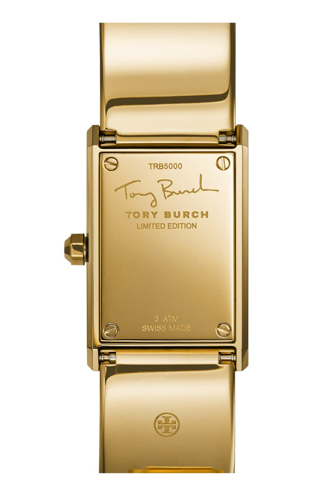 TORY BURCH,                             'Robinson' Rectangle Case Bangle Watch, 25mm x 38mm,                             Alternate thumbnail 5, color,                             710