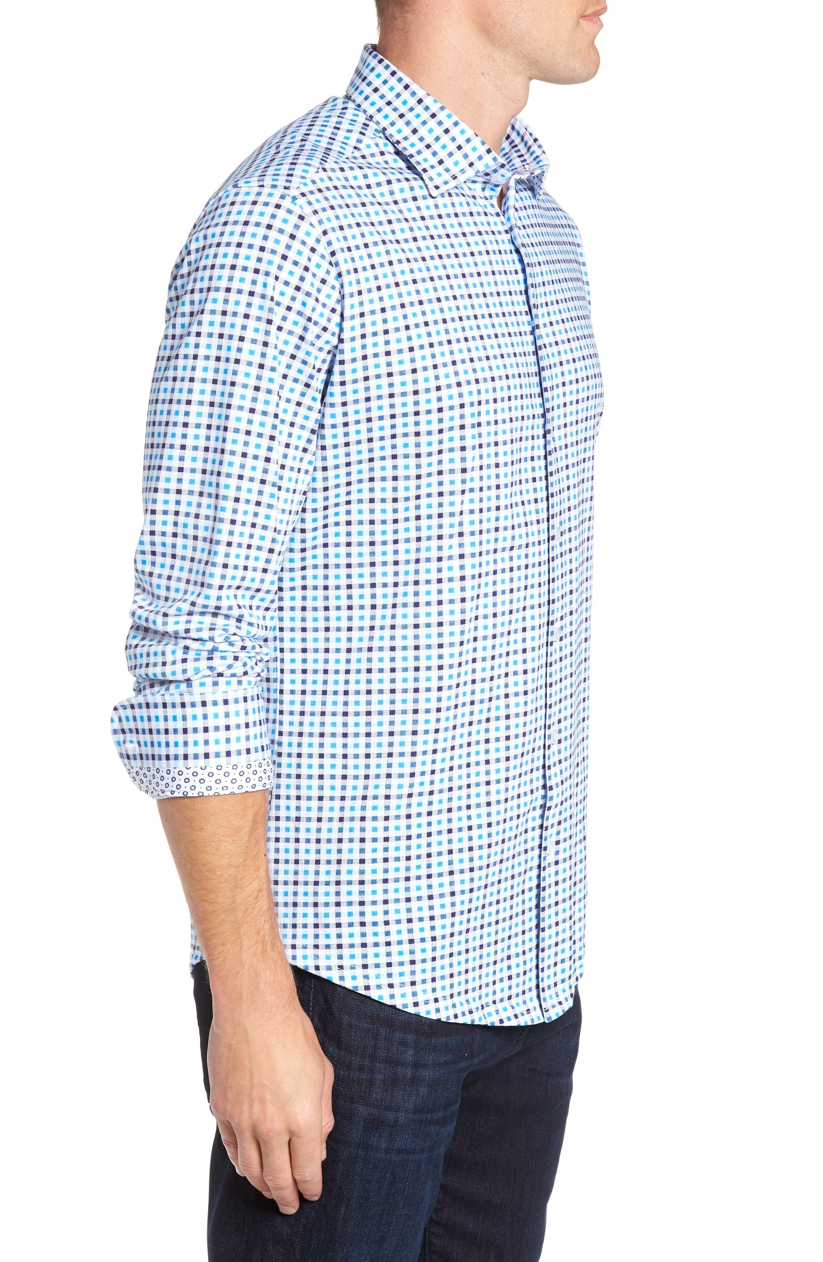 Trim Fit Knit Sport Shirt,                             Alternate thumbnail 4, color,                             BLUE