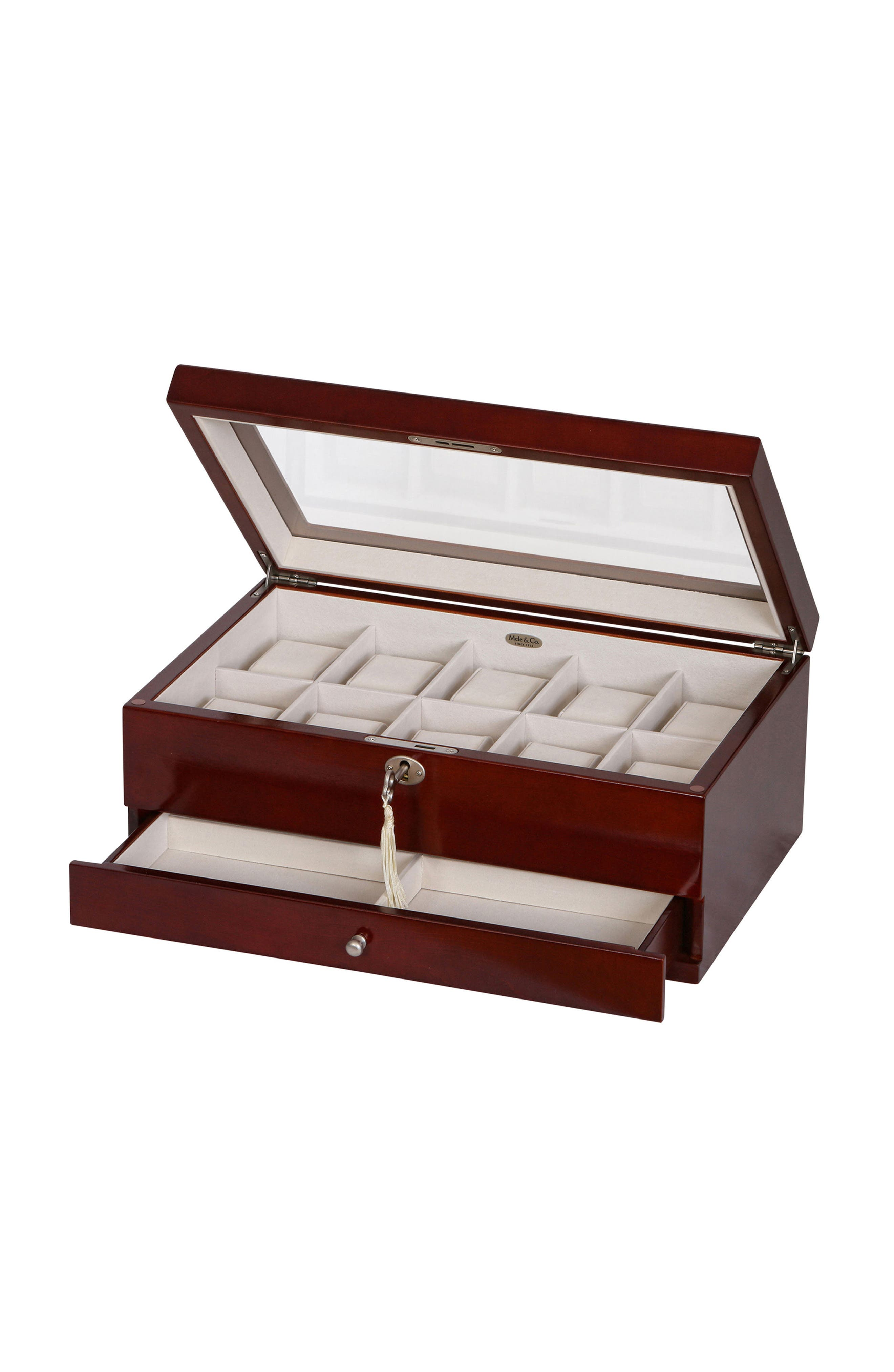 Christo Locking Watch & Jewelry Box,                             Alternate thumbnail 5, color,                             BROWN
